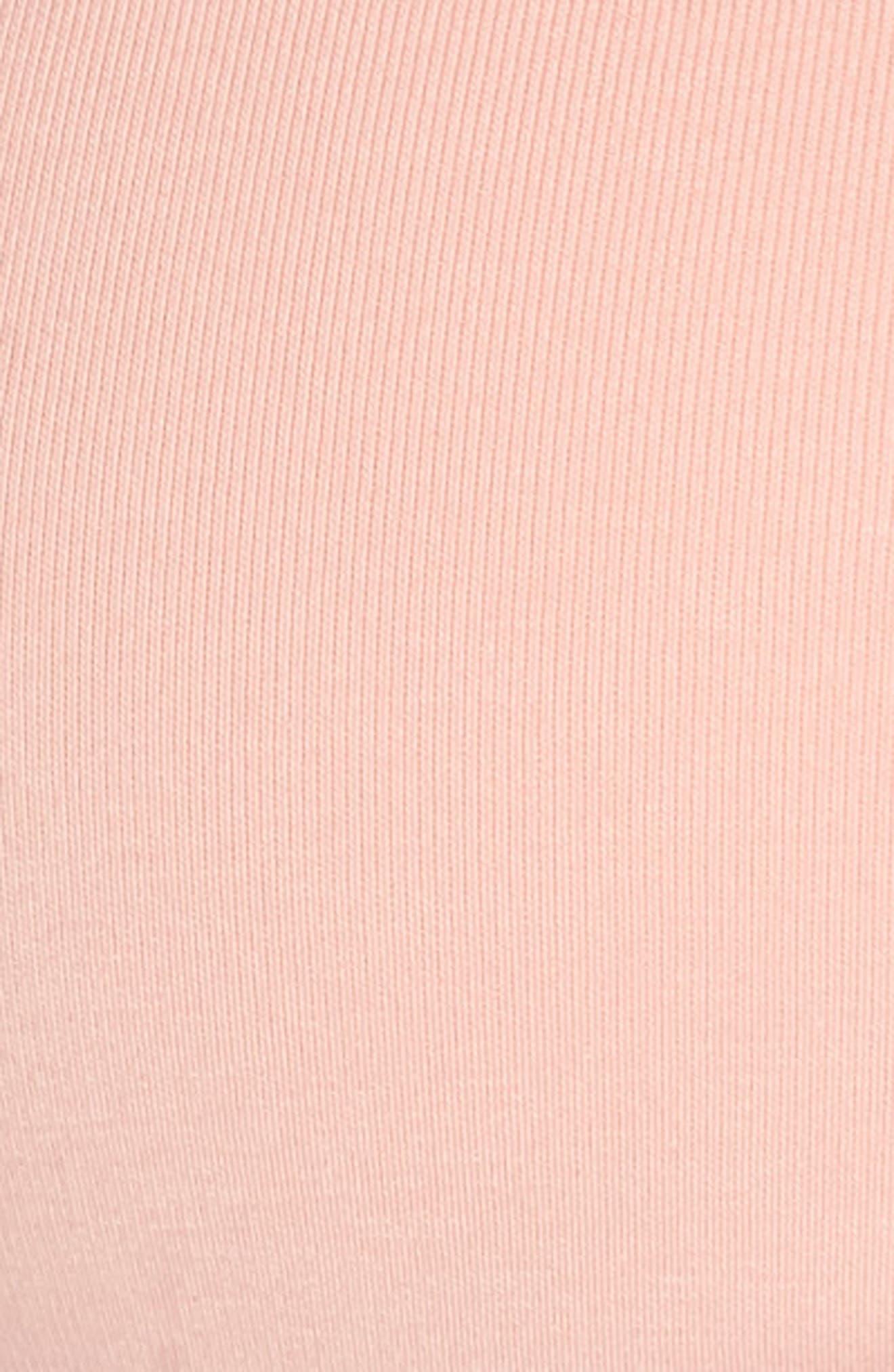 NIKE, Classic Soft Sports Bra, Alternate thumbnail 6, color, STORM PINK/ BLACK