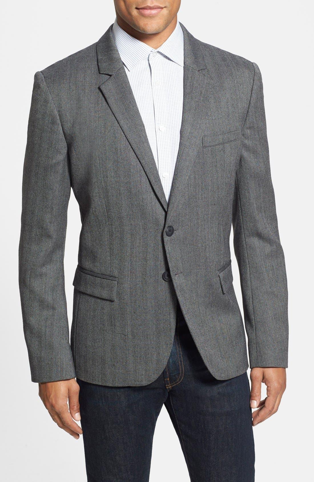 ZZDNUHUGO BOSS HUGO 'Arux' Trim Fit Herringbone Sport Coat, Main, color, 077