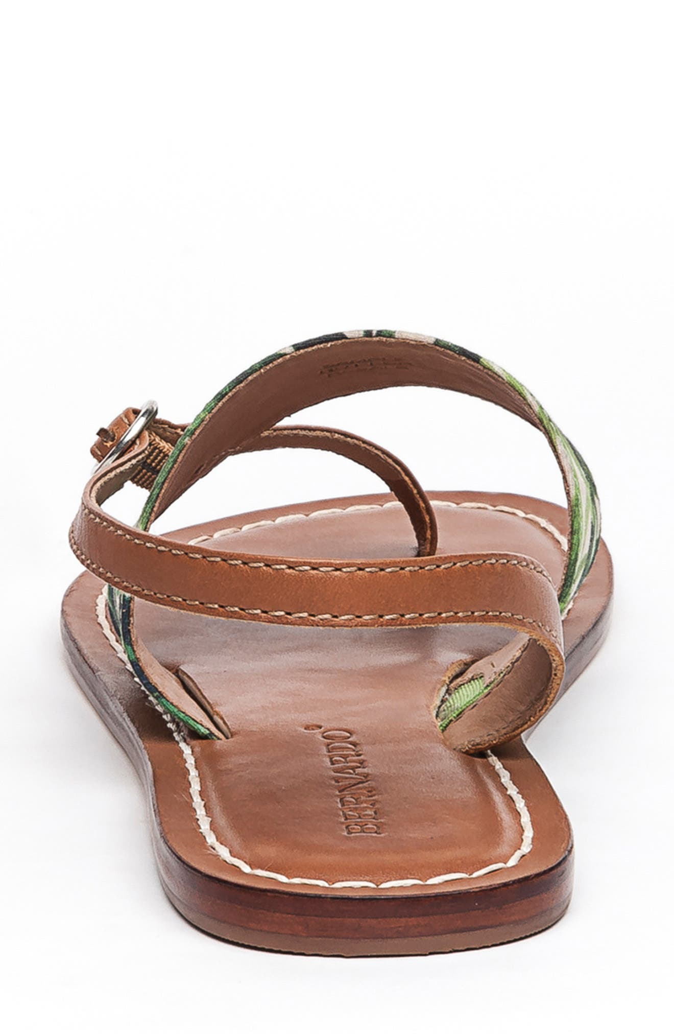 BERNARDO, Footwear Meg Thong Sandal, Alternate thumbnail 7, color, PALM FABRIC/ LUGGAGE LEATHER