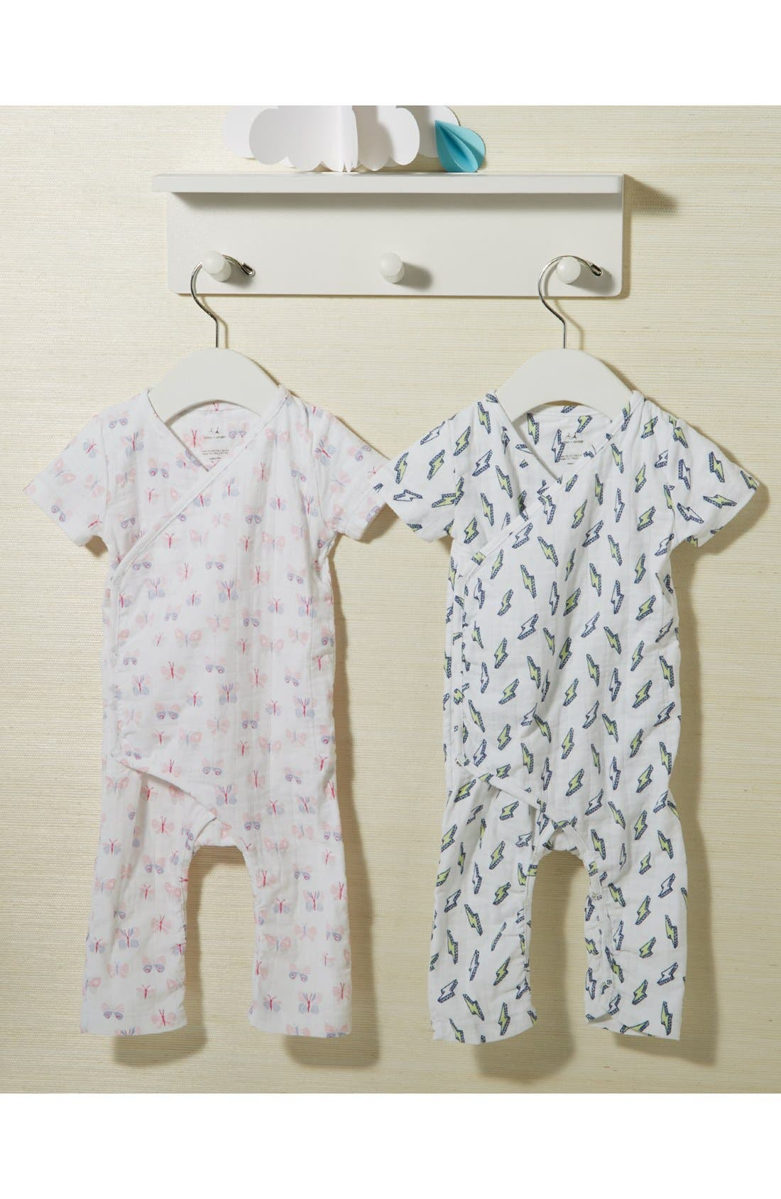 ADEN + ANAIS, Short Sleeve Kimono Romper, Alternate thumbnail 3, color, 040