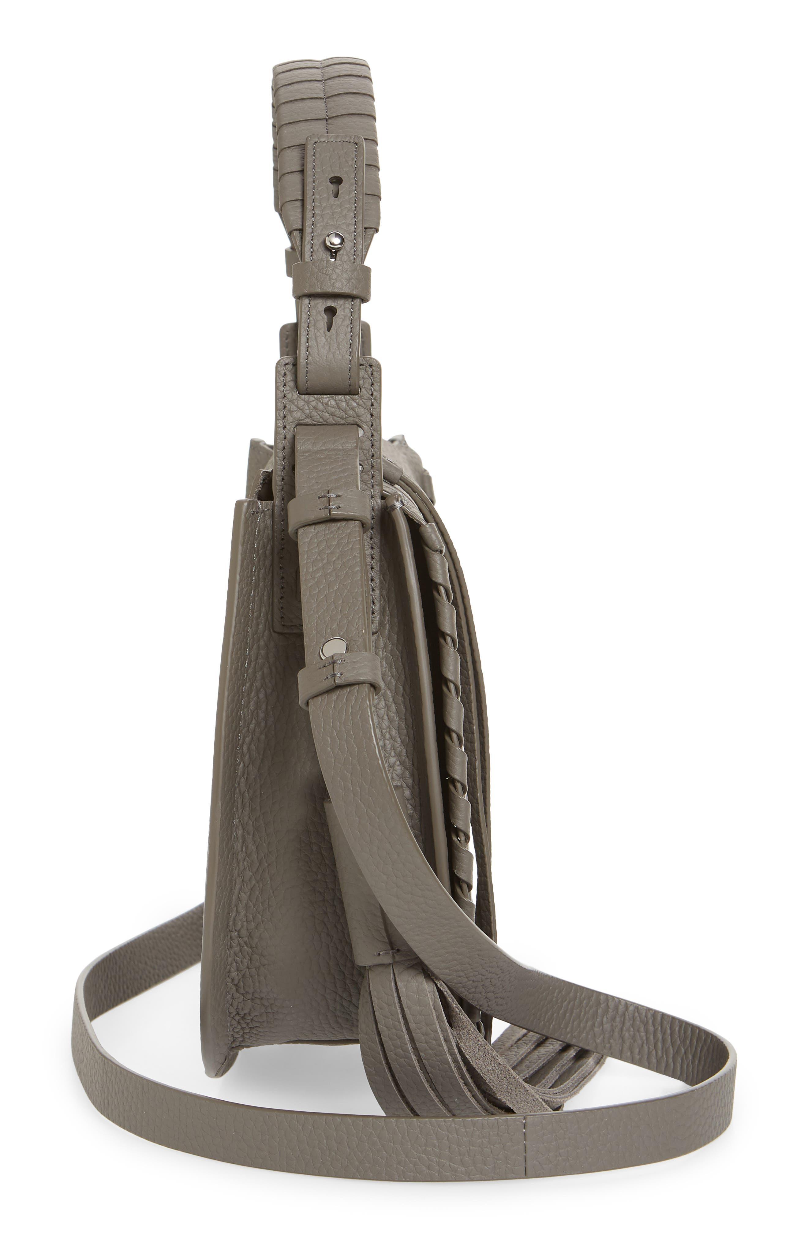 ALLSAINTS, Mori Leather Crossbody Bag, Alternate thumbnail 5, color, STORM GREY