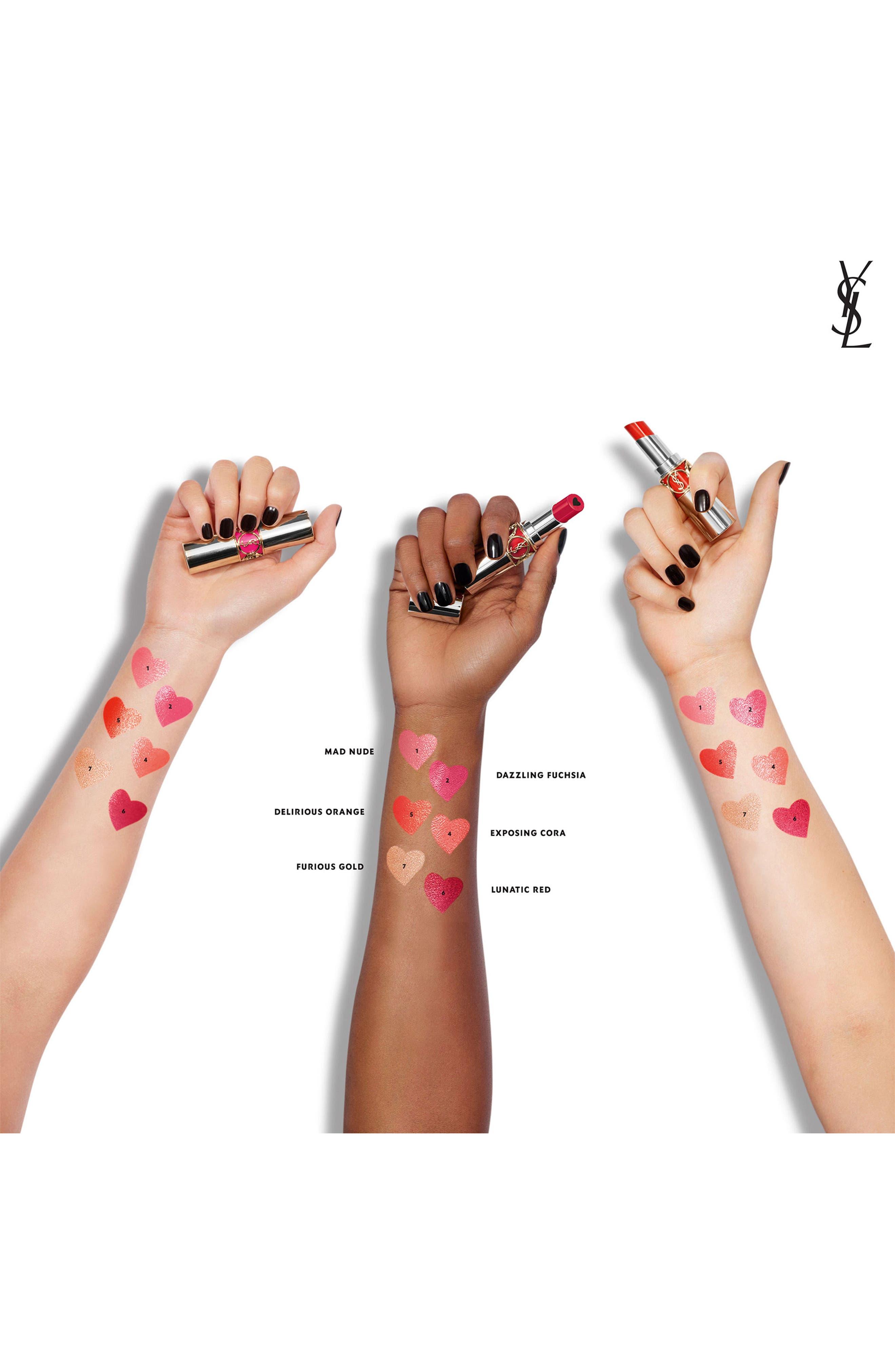 YVES SAINT LAURENT, Volupté Plump-in-Color Plumping Lip Balm, Alternate thumbnail 5, color, 06 LUNATIC RED