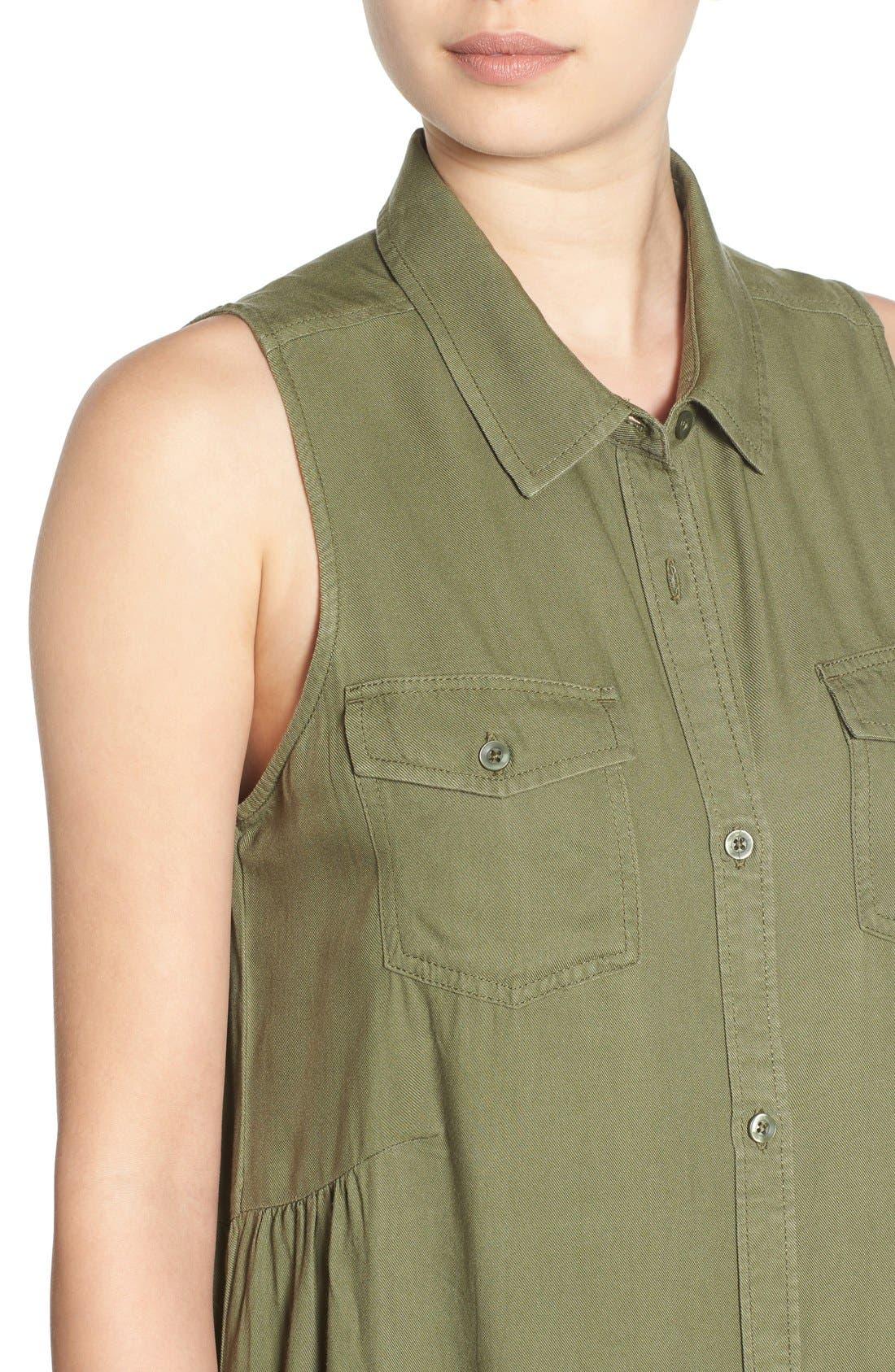 BP., Sleeveless Woven Shirtdress, Alternate thumbnail 5, color, 311