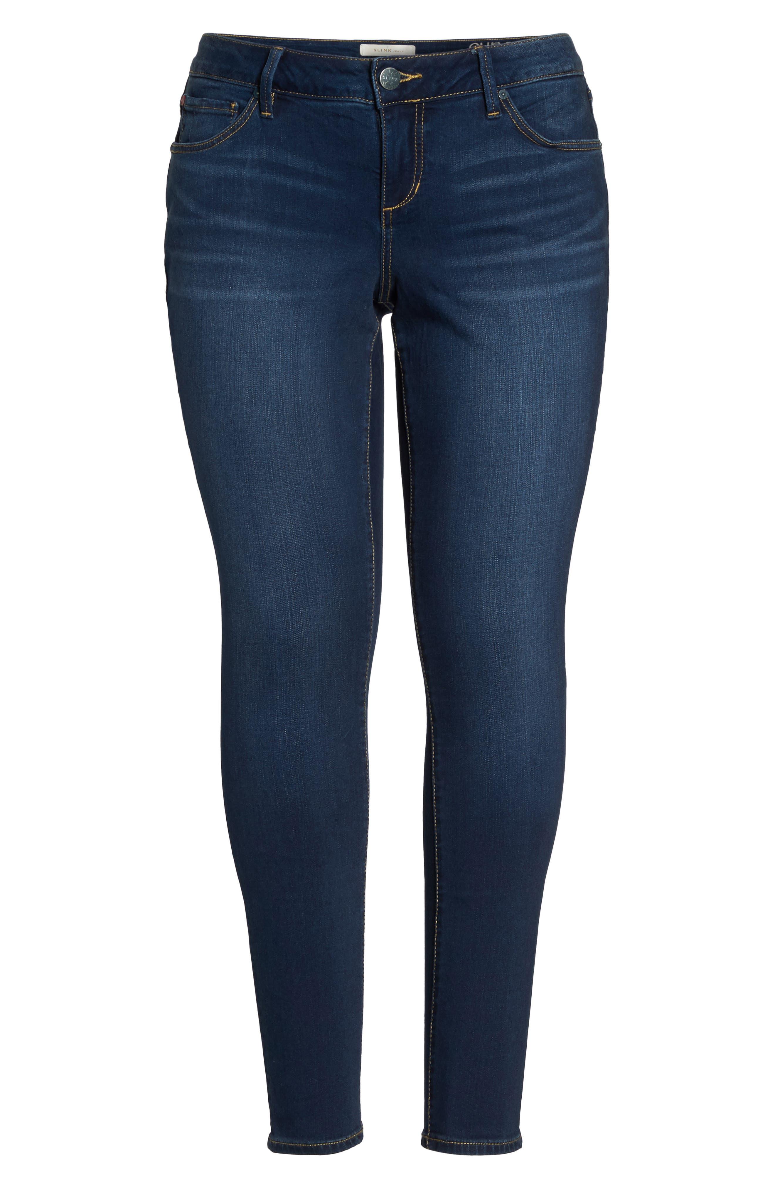 SLINK JEANS, 'The Skinny' Stretch Denim Jeans, Alternate thumbnail 5, color, AMBER