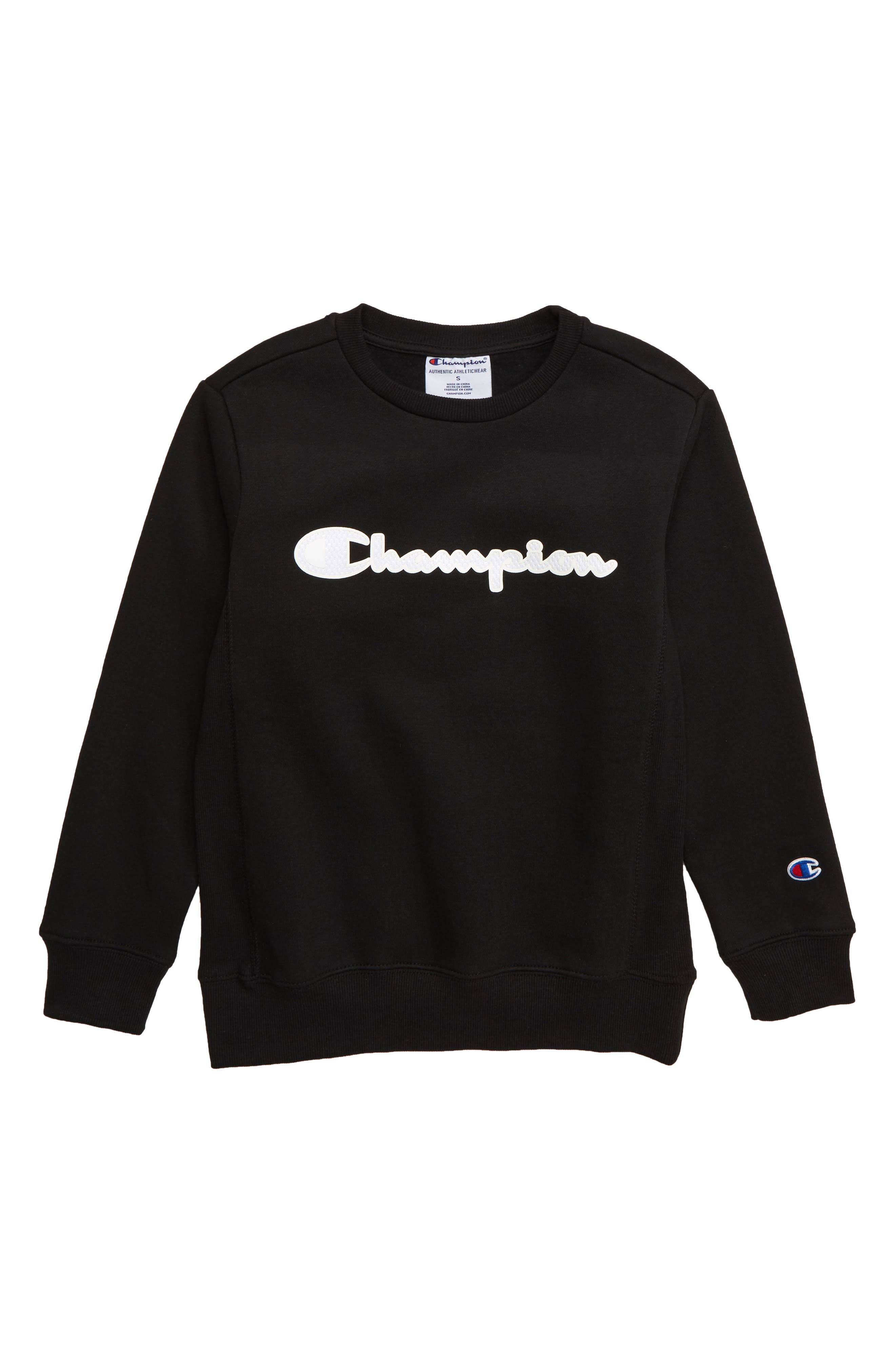 CHAMPION, Premium Fleece Crewneck Sweatshirt, Main thumbnail 1, color, BLACK
