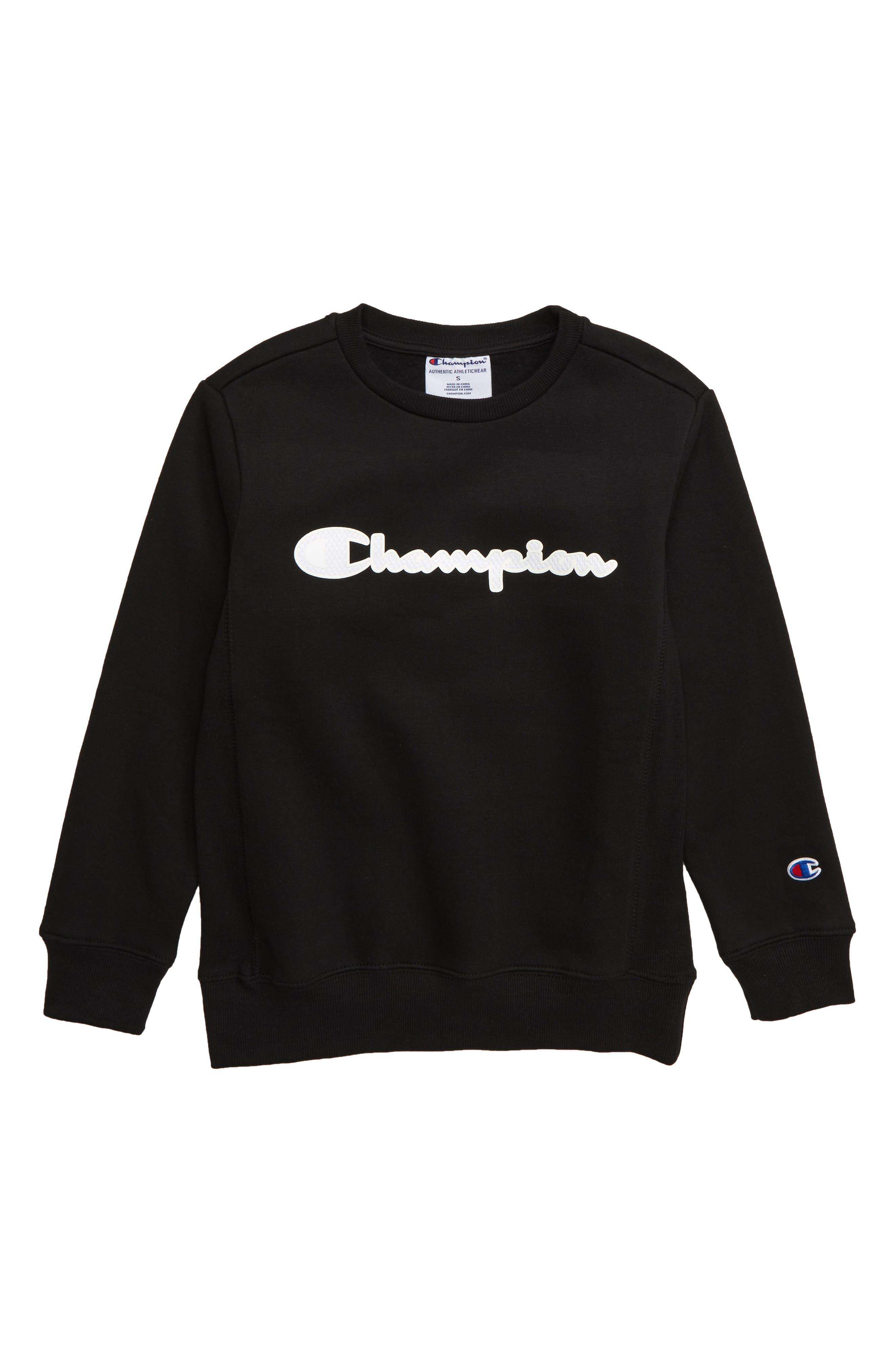 CHAMPION Premium Fleece Crewneck Sweatshirt, Main, color, BLACK