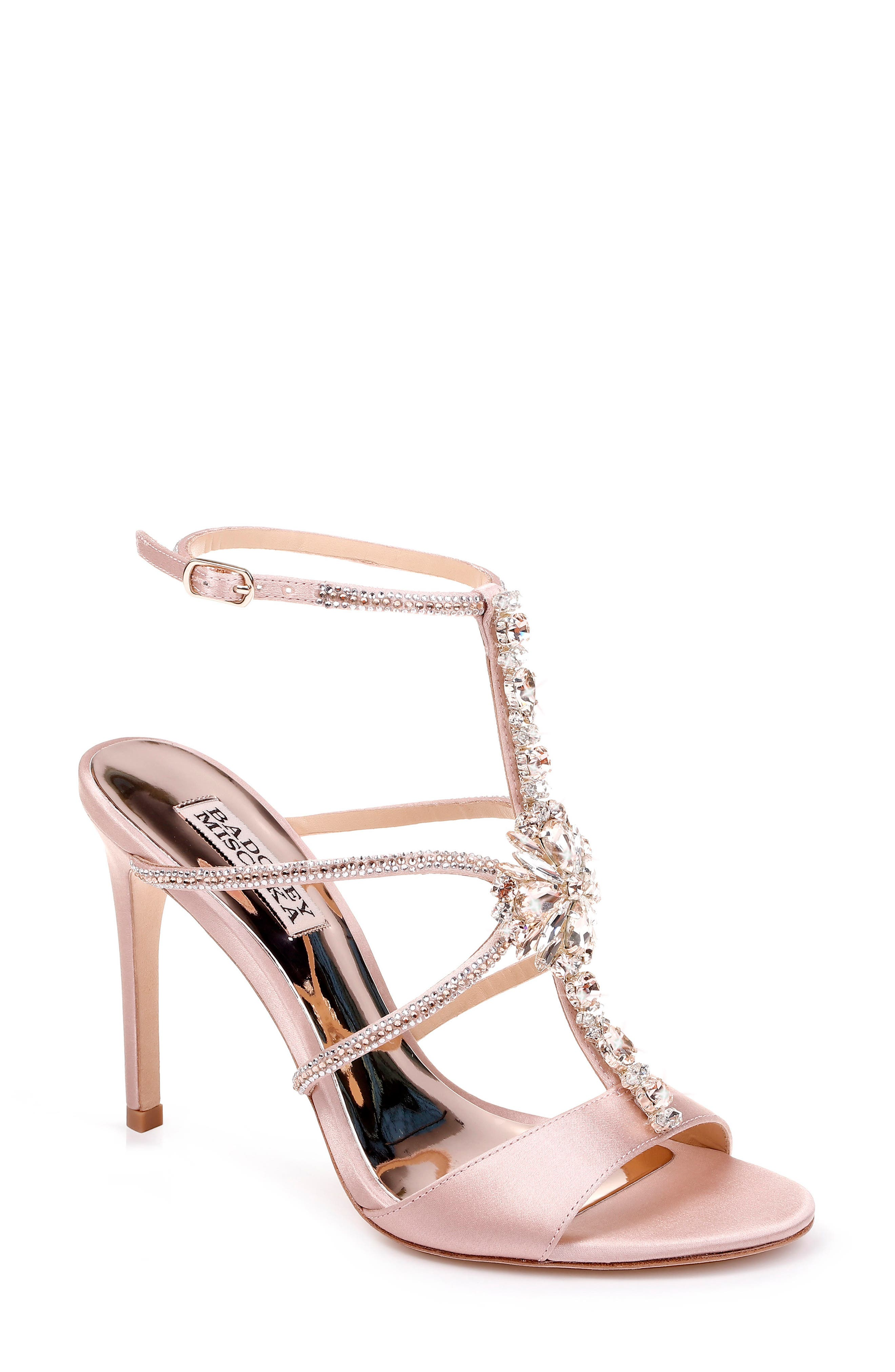 BADGLEY MISCHKA COLLECTION, Badgley Mischka Faye Ankle Strap Sandal, Main thumbnail 1, color, SOFT BLUSH SATIN