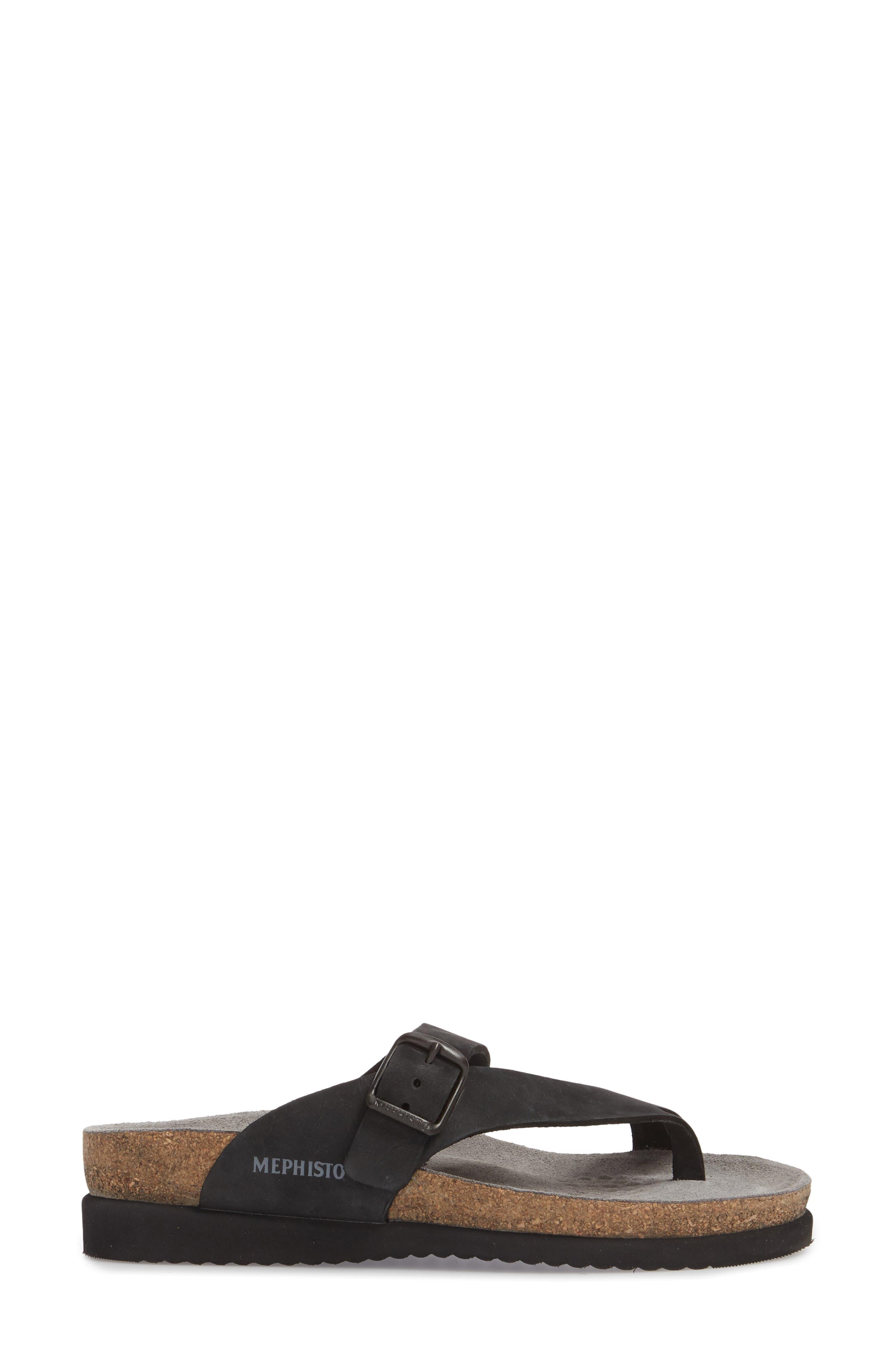 MEPHISTO, 'Helen' Sandal, Alternate thumbnail 3, color, BLACK NUBUCK