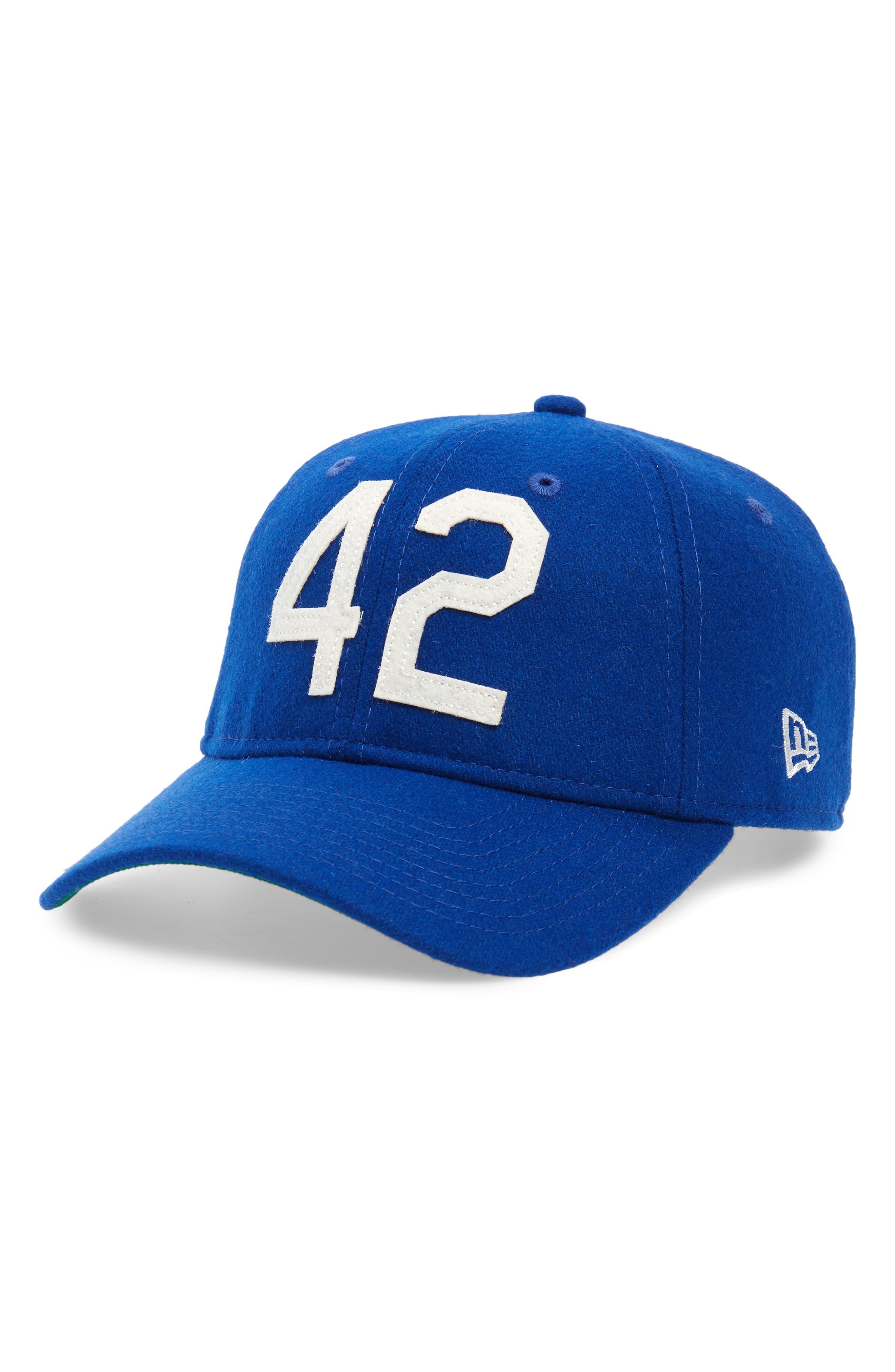 NEW ERA CAP, Jackie Robinson 42 9Twenty Wool Blend Baseball Cap, Main thumbnail 1, color, 400