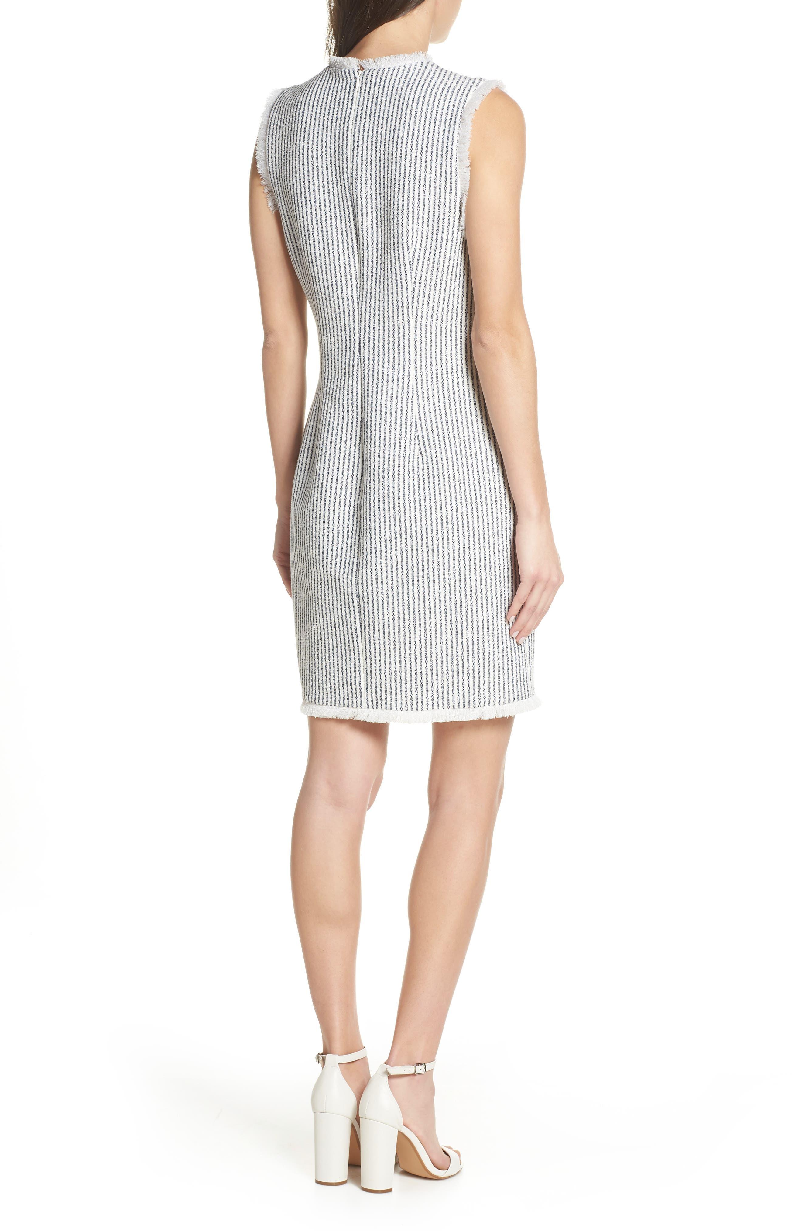 CHARLES HENRY, Fringe Trim Stripe Shift Dress, Alternate thumbnail 2, color, NAVY WHITE STRIPE
