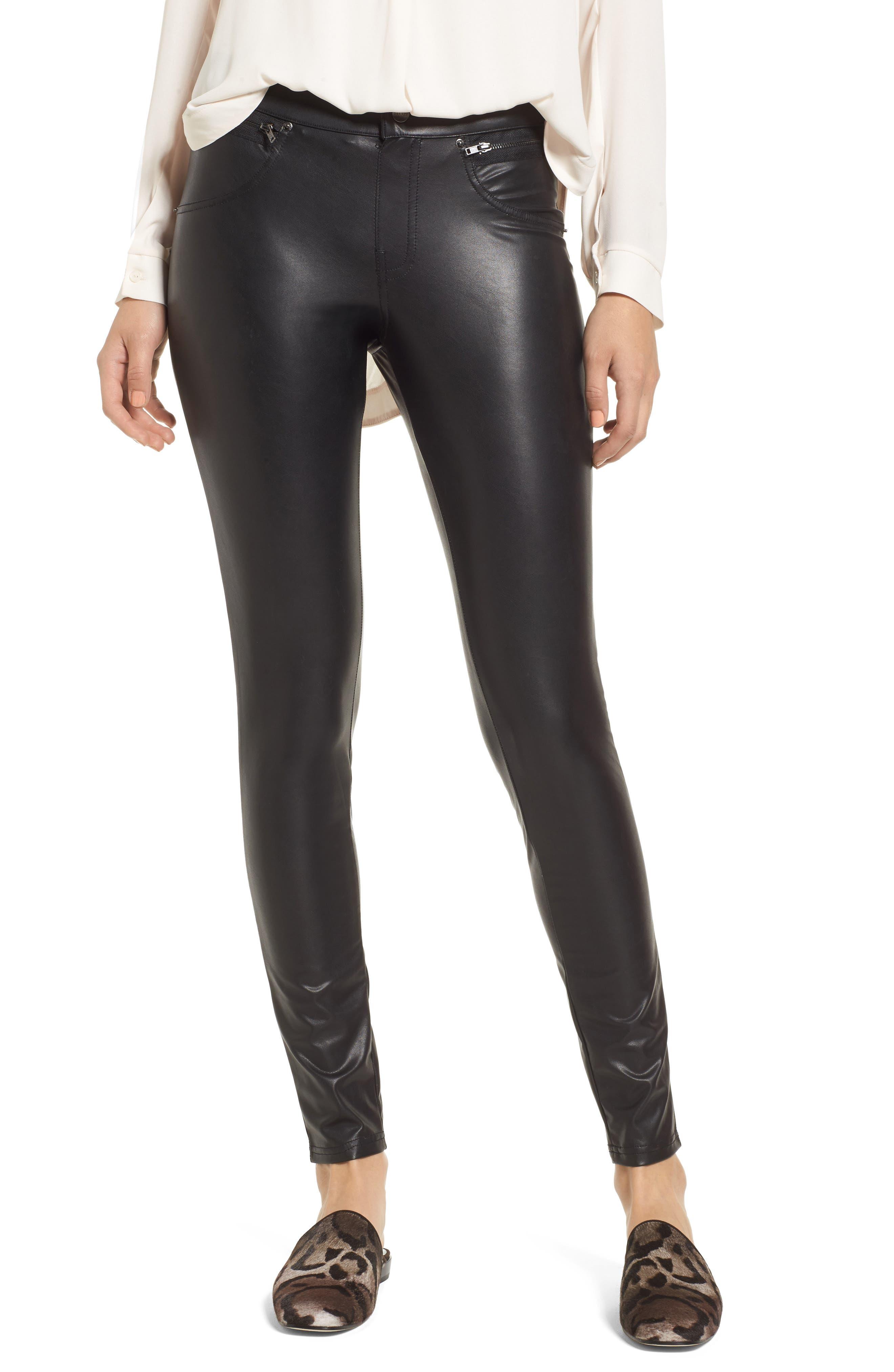 HUE Leatherette Leggings, Main, color, 001