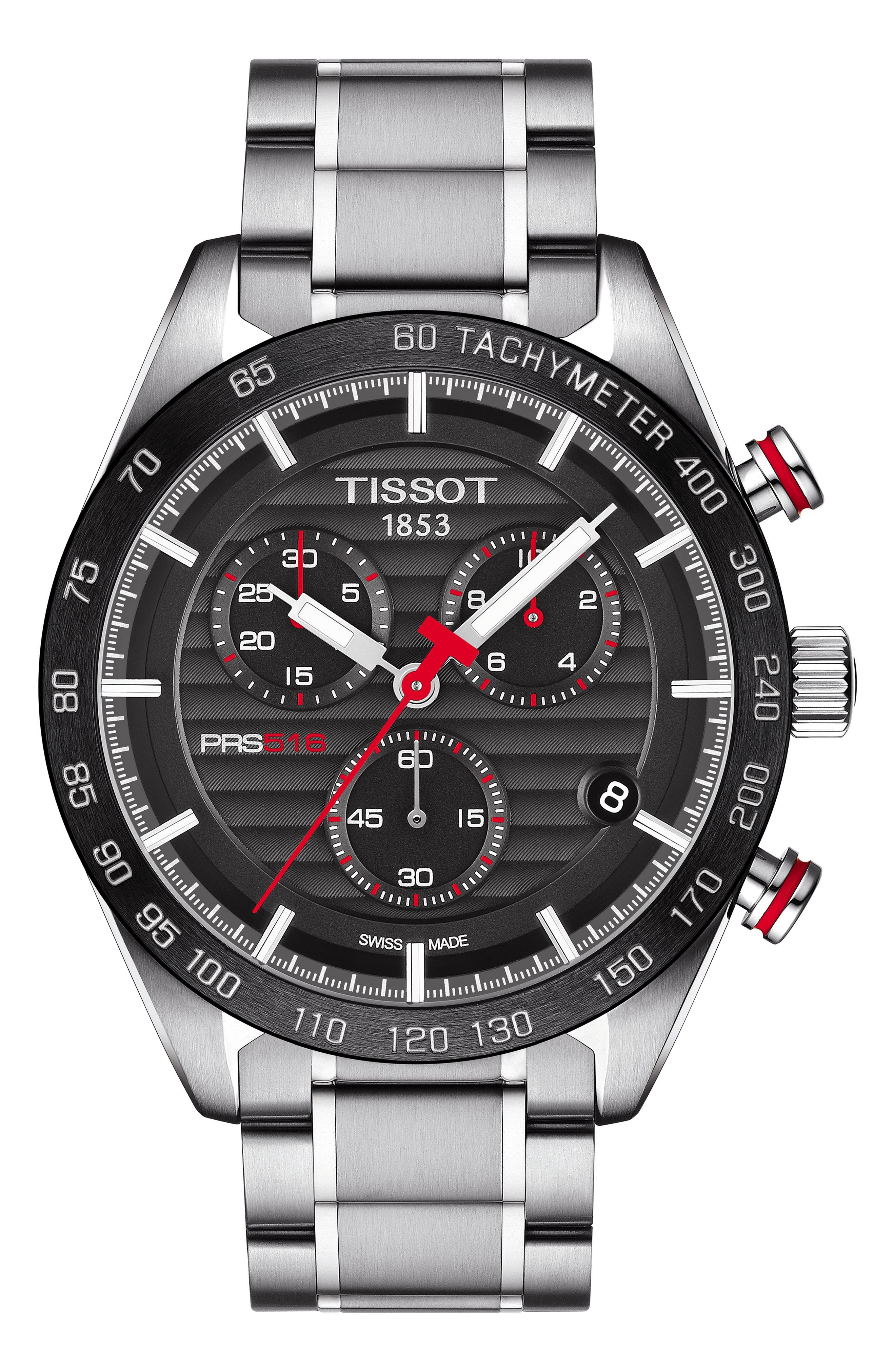 TISSOT PRS516 Chronograph Bracelet Watch, 42mm, Main, color, SILVER/ BLACK/ SILVER