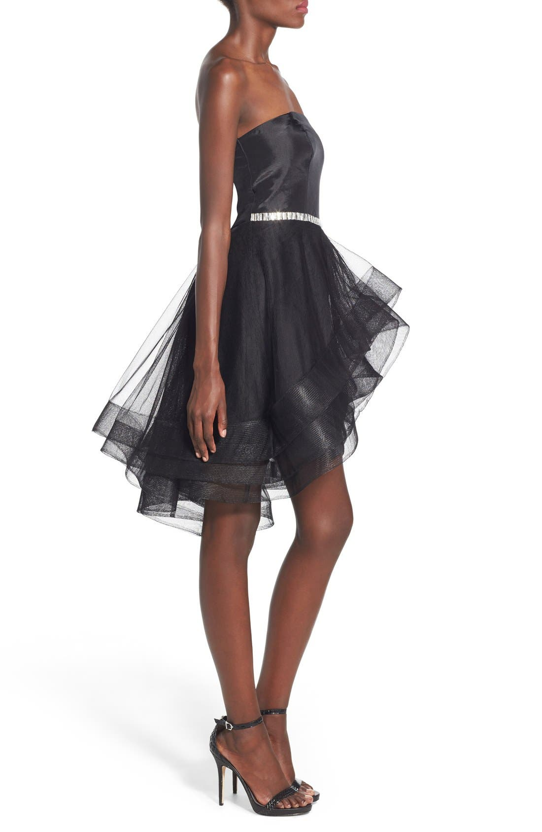 WAY-IN, 'Susie' Embellished Waist Tulle Strapless Dress, Alternate thumbnail 2, color, 001