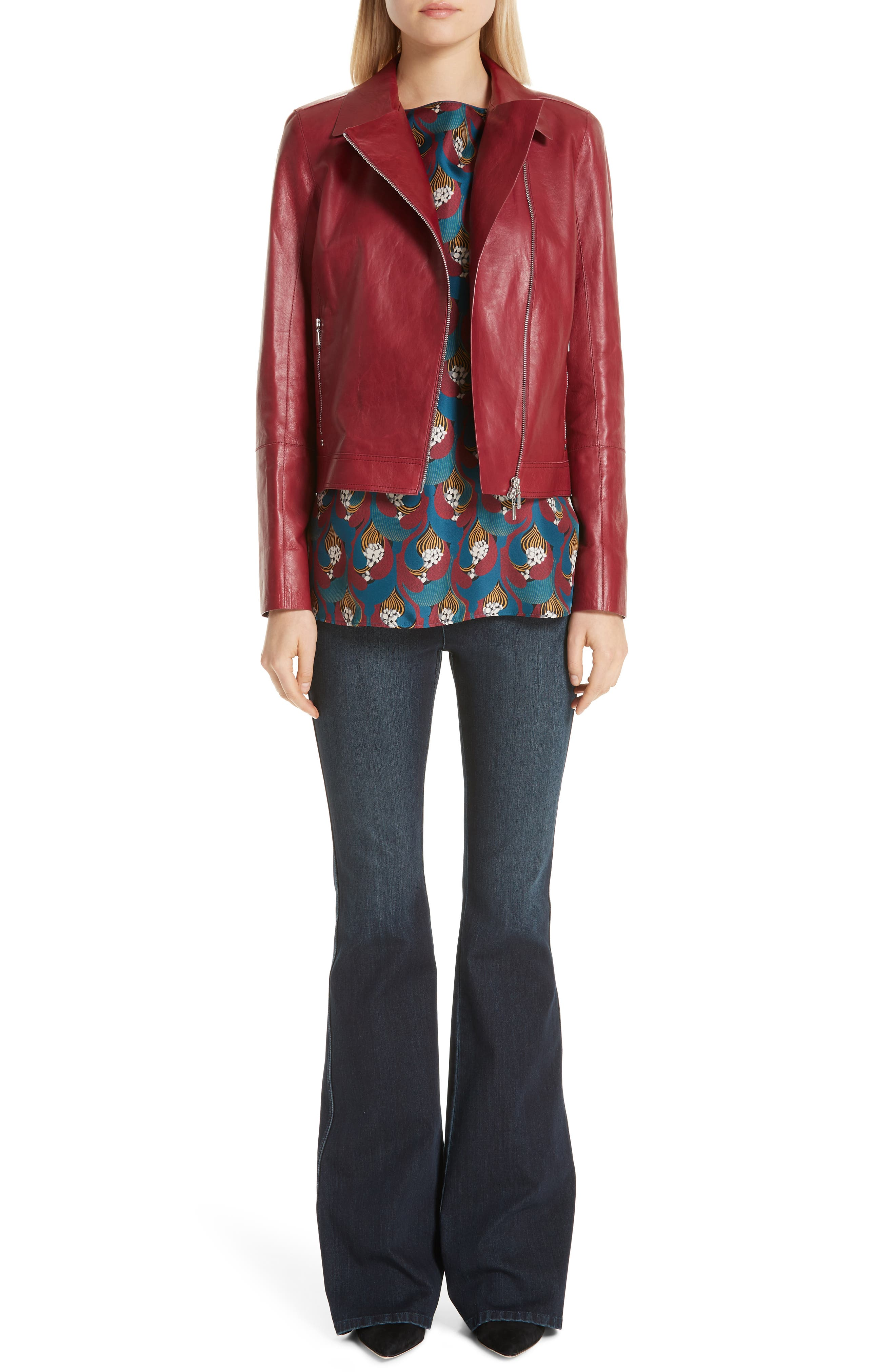 LAFAYETTE 148 NEW YORK, Marykate Leather Moto Jacket, Alternate thumbnail 7, color, 600