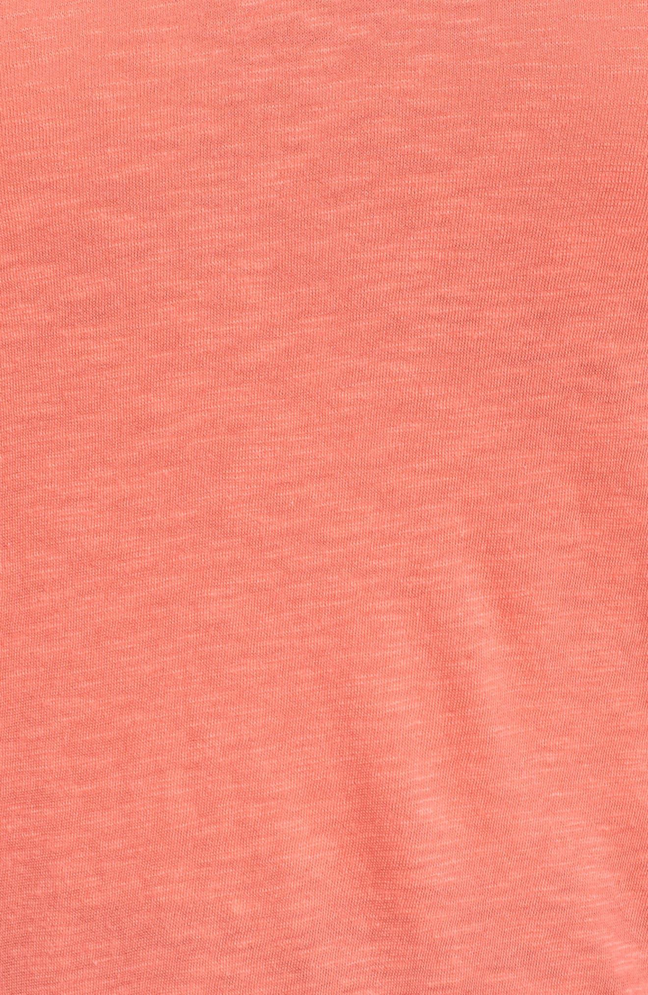 CASLON<SUP>®</SUP>, V-Neck Peplum Tee, Alternate thumbnail 5, color, CORAL GLOW