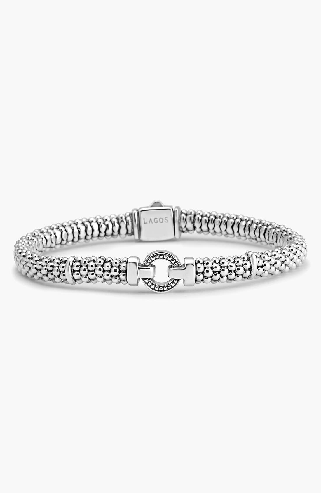 LAGOS, Enso Boxed Circle Station Caviar Rope Bracelet, Alternate thumbnail 8, color, STERLING SILVER