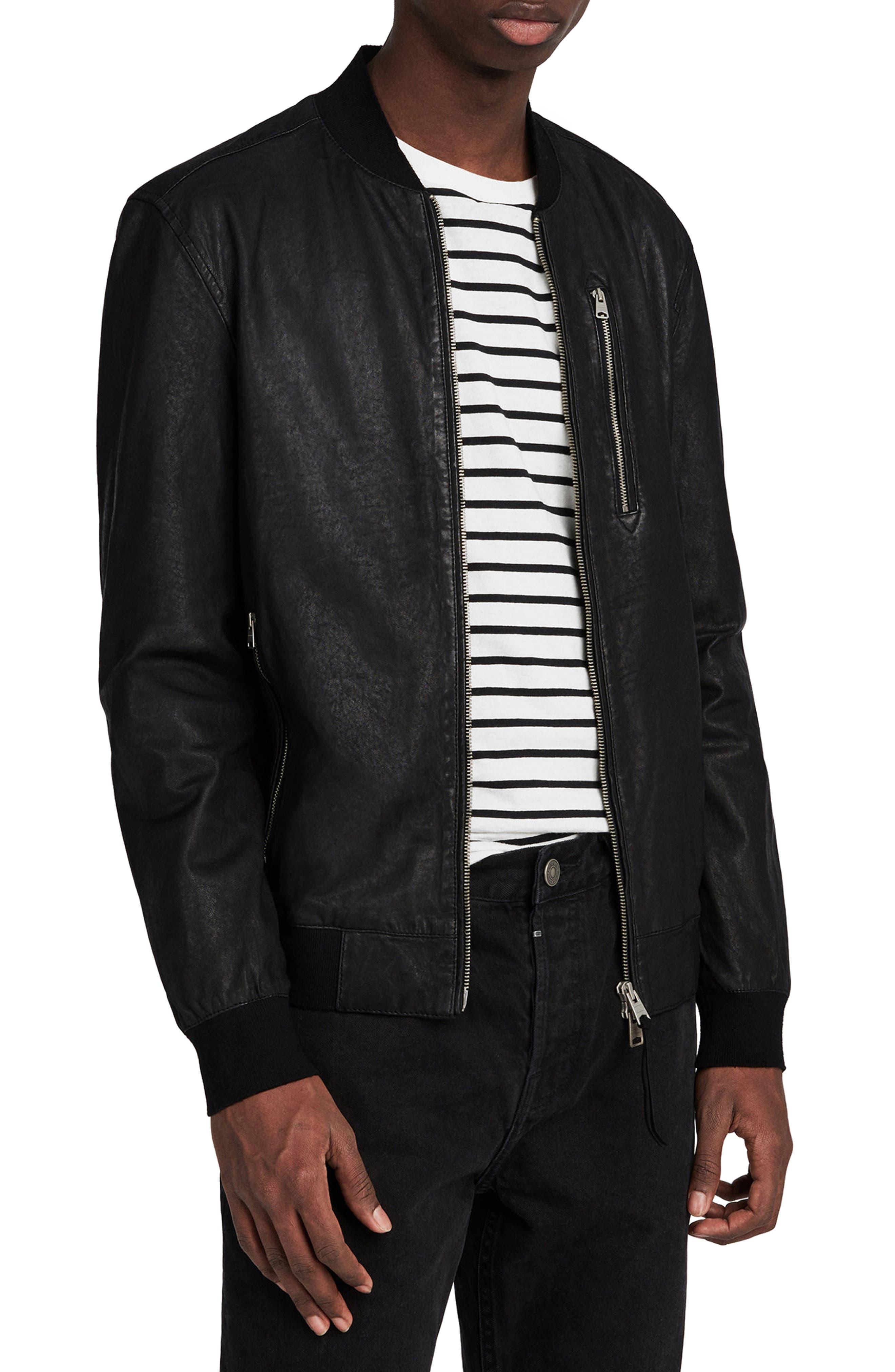 ALLSAINTS, Kino Leather Bomber Jacket, Main thumbnail 1, color, BLACK