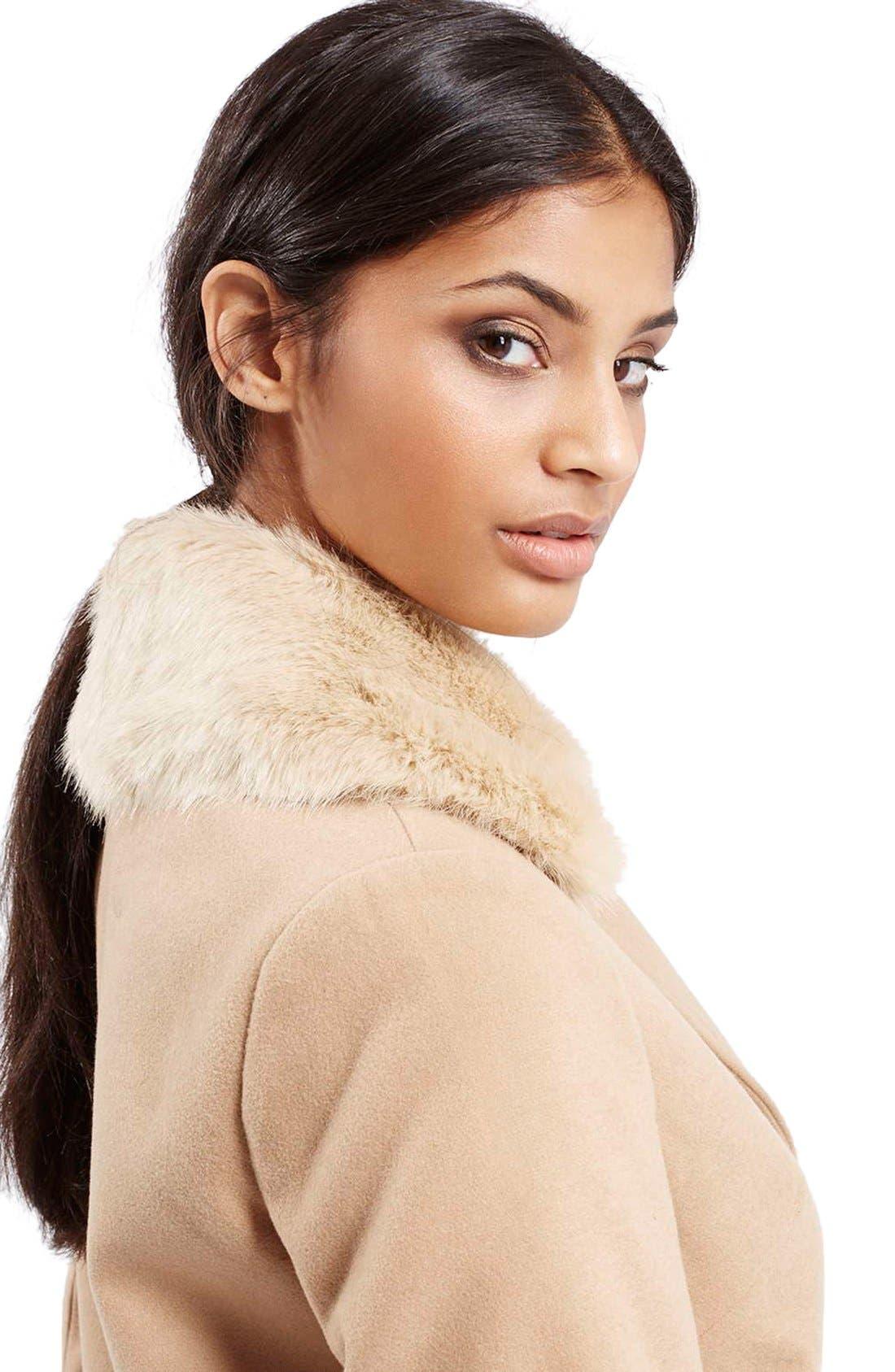 TOPSHOP, 'Mia' FauxFur CollarSlim Fit Coat, Alternate thumbnail 4, color, 252