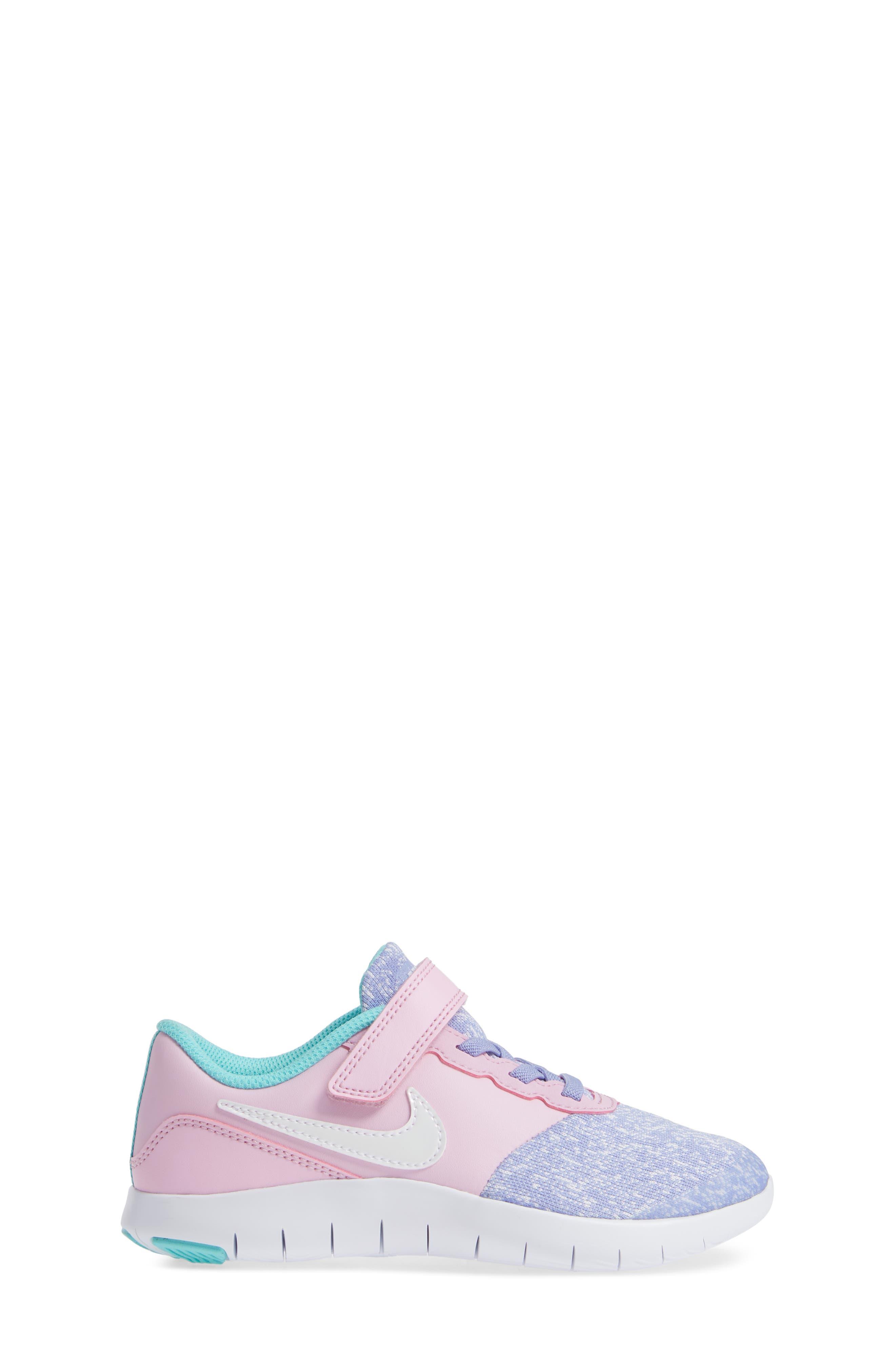 NIKE, Flex Contact Running Shoe, Alternate thumbnail 3, color, TWILIGHT PULSE WHITE AQUA