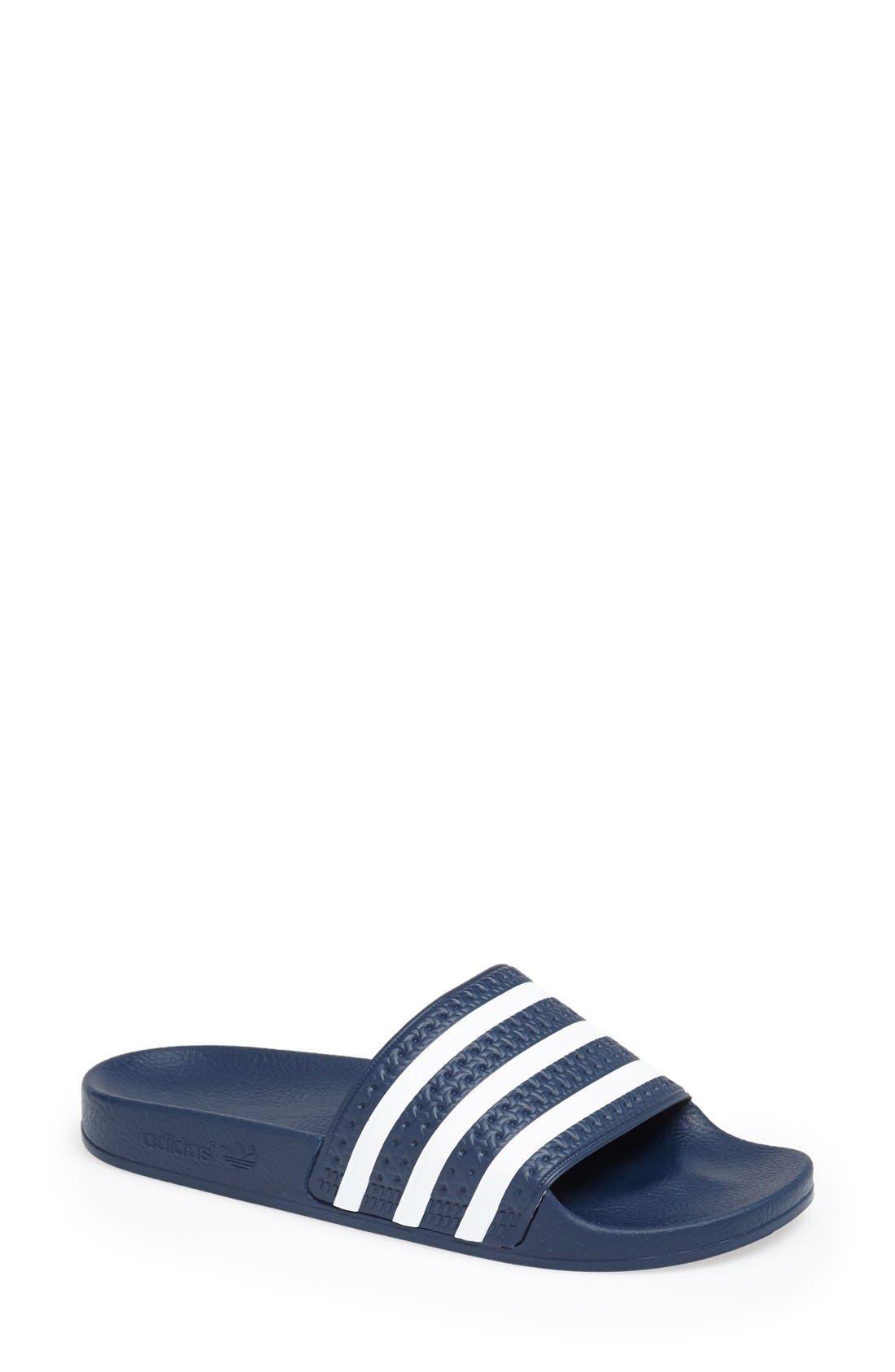 ADIDAS, 'Adilette' Slide Sandal, Main thumbnail 1, color, NEW NAVY/ WHITE