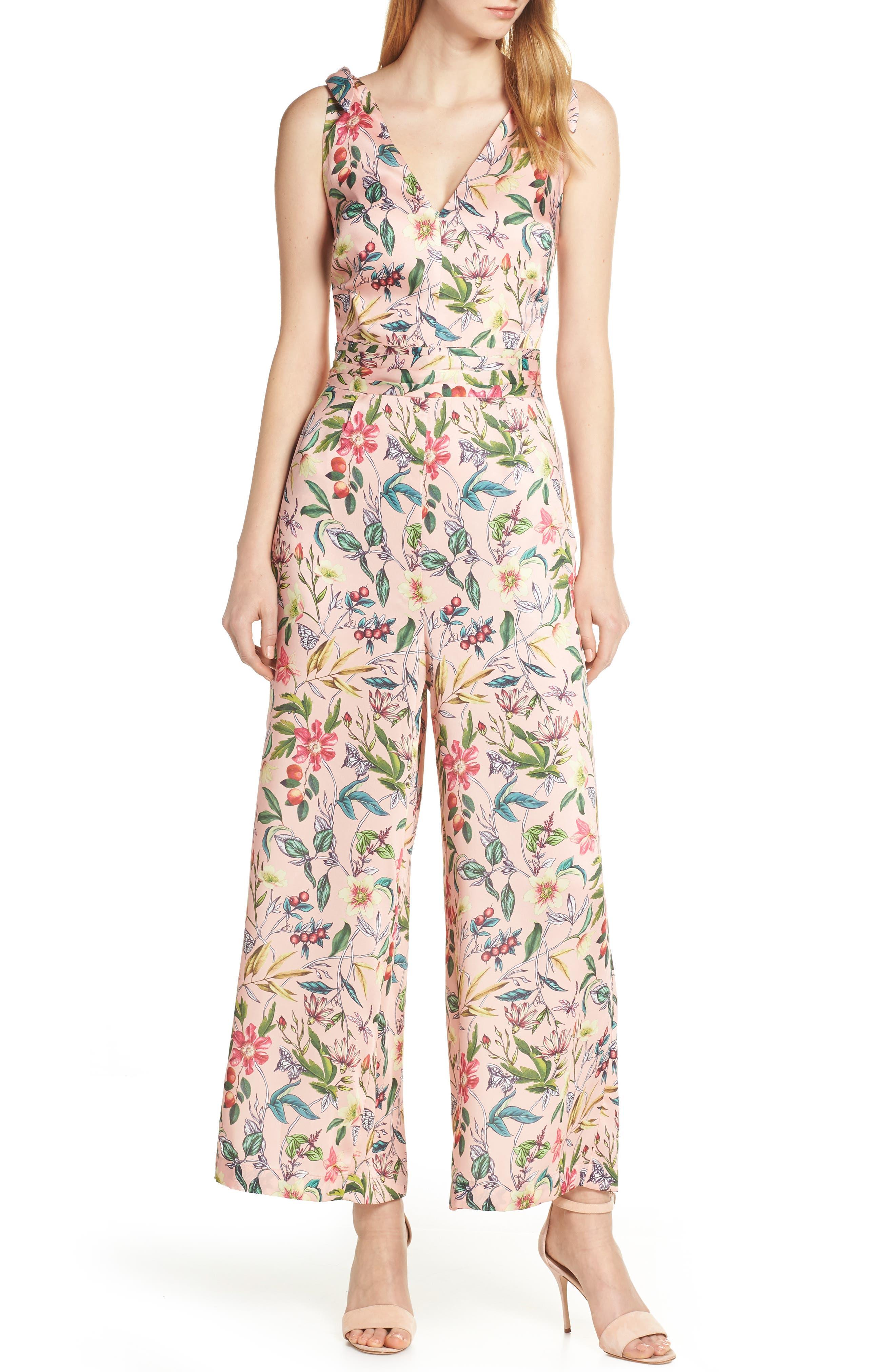 SAM EDELMAN Floral Wide Leg Jumpsuit, Main, color, PINK MULTI