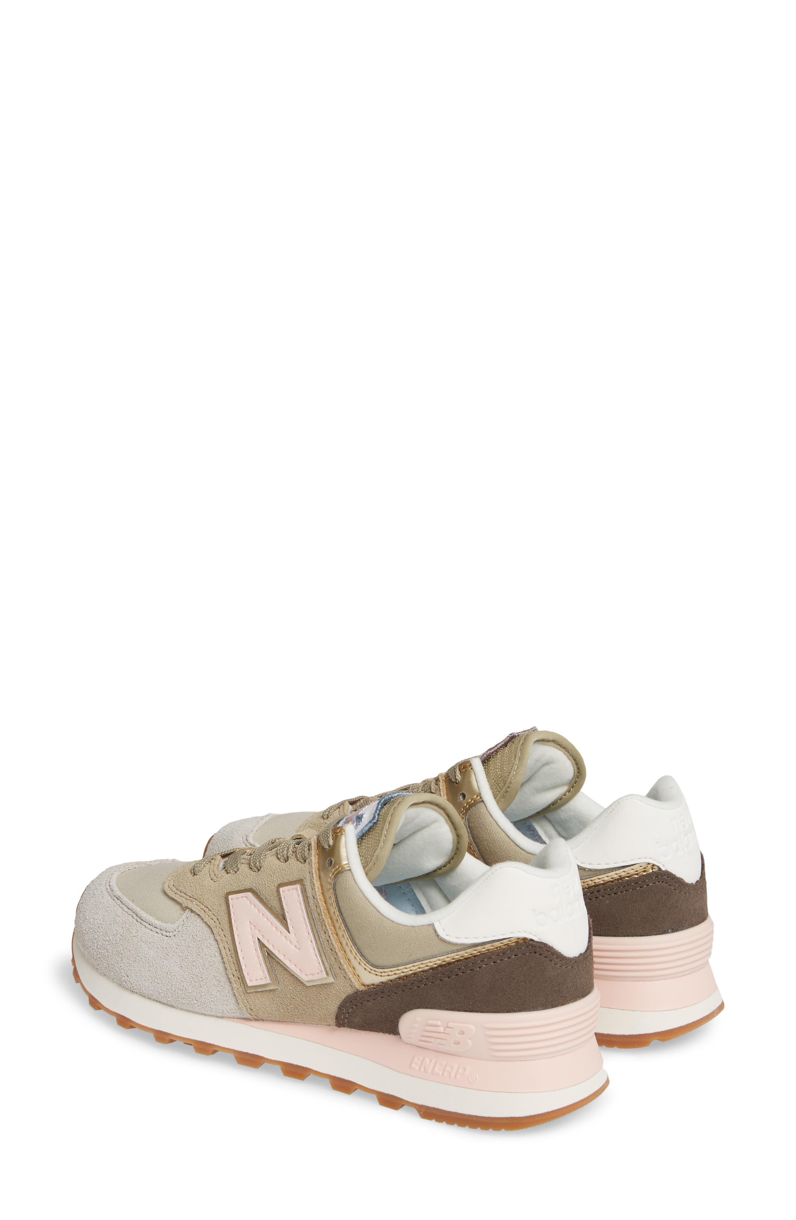 NEW BALANCE, 574 Metallic Patch Sneaker, Alternate thumbnail 2, color, LIGHT CLIFF GREY