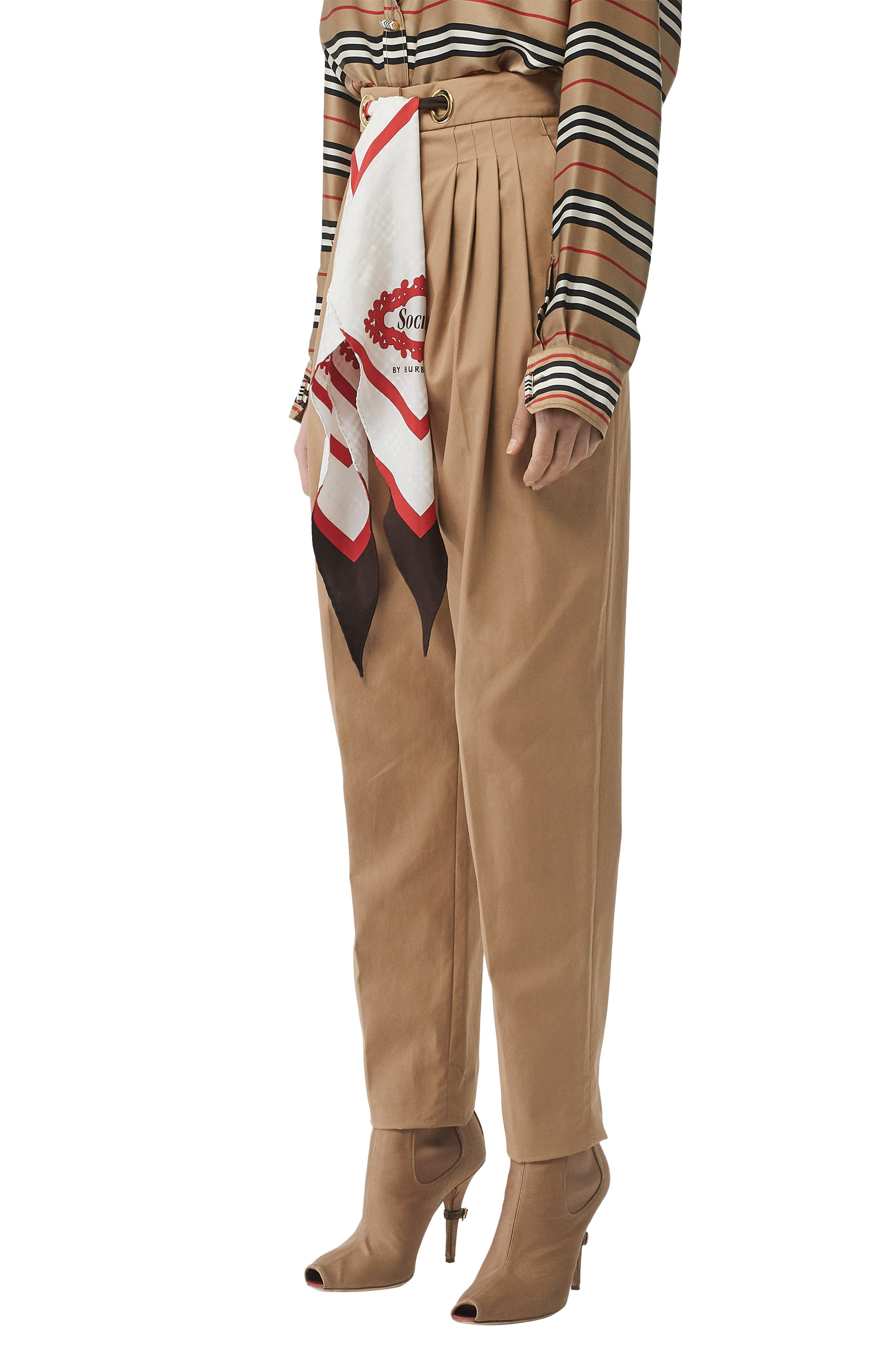 BURBERRY, Scarf Belt Cotton Trousers, Alternate thumbnail 3, color, DRIFTWOOD