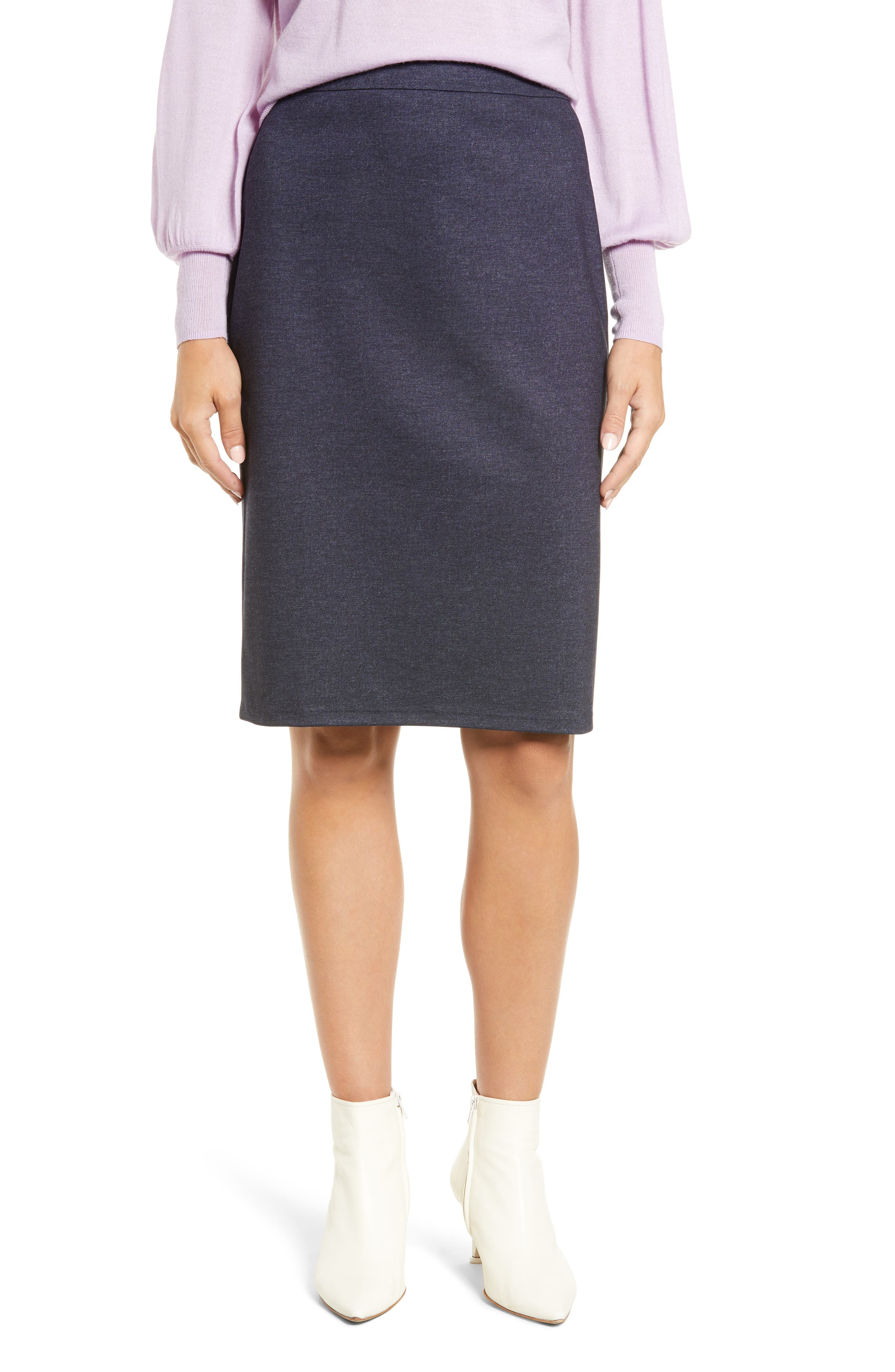 HALOGEN<SUP>®</SUP>, Knit Pencil Skirt, Main thumbnail 1, color, INDIGO