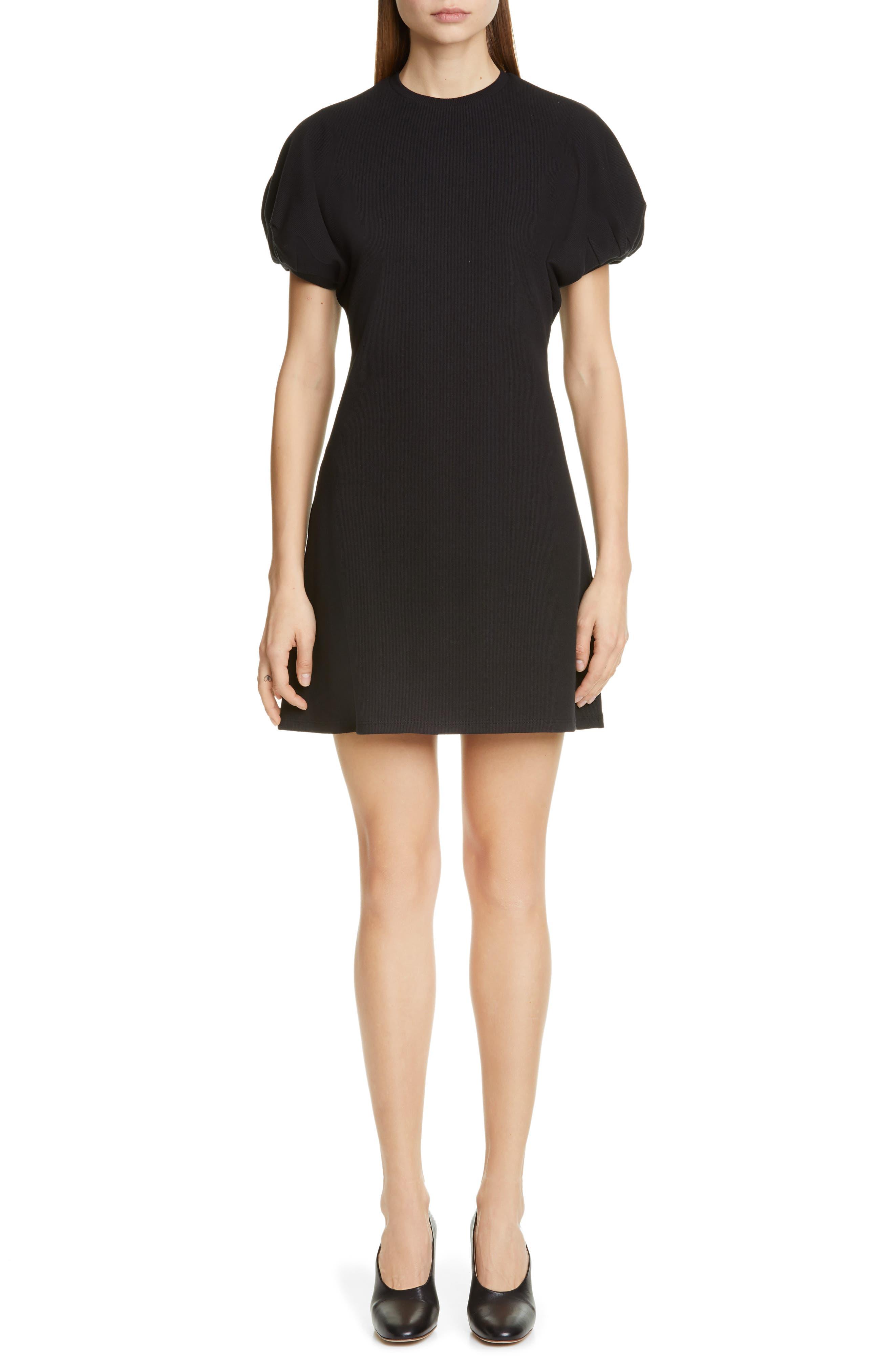 BEAUFILLE Leda Puff Sleeve Dress, Main, color, BLACK