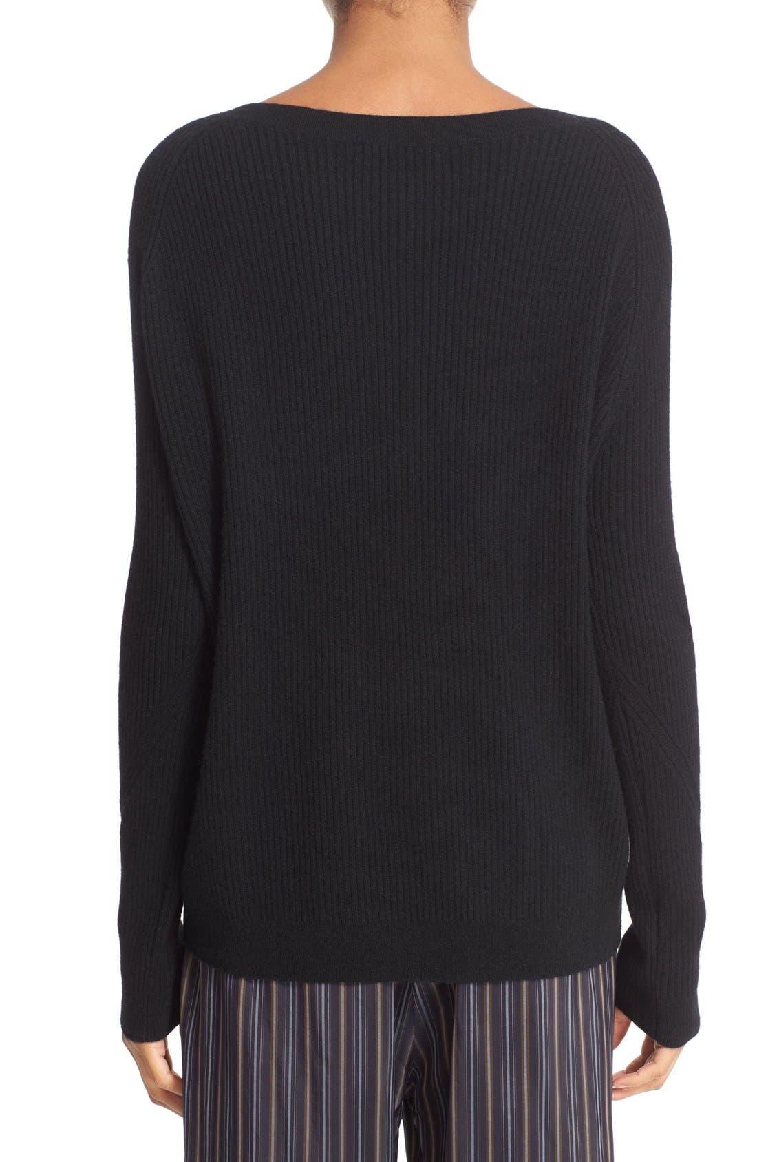 VINCE, Rib Knit Raglan Sleeve Cashmere Sweater, Alternate thumbnail 2, color, 001