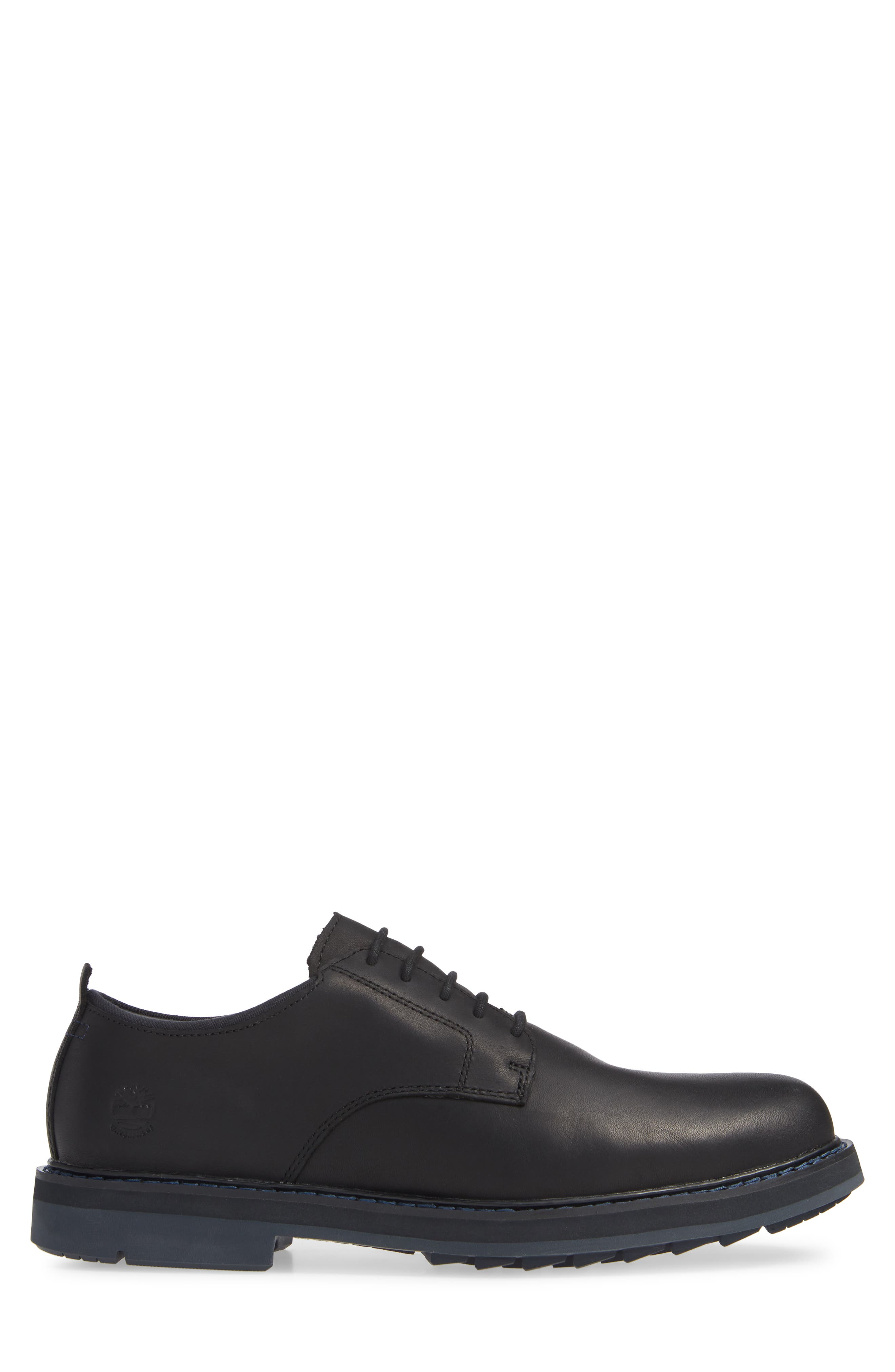 TIMBERLAND, Squall Canyon Waterproof Plain Toe Derby, Alternate thumbnail 3, color, BLACK LEATHER