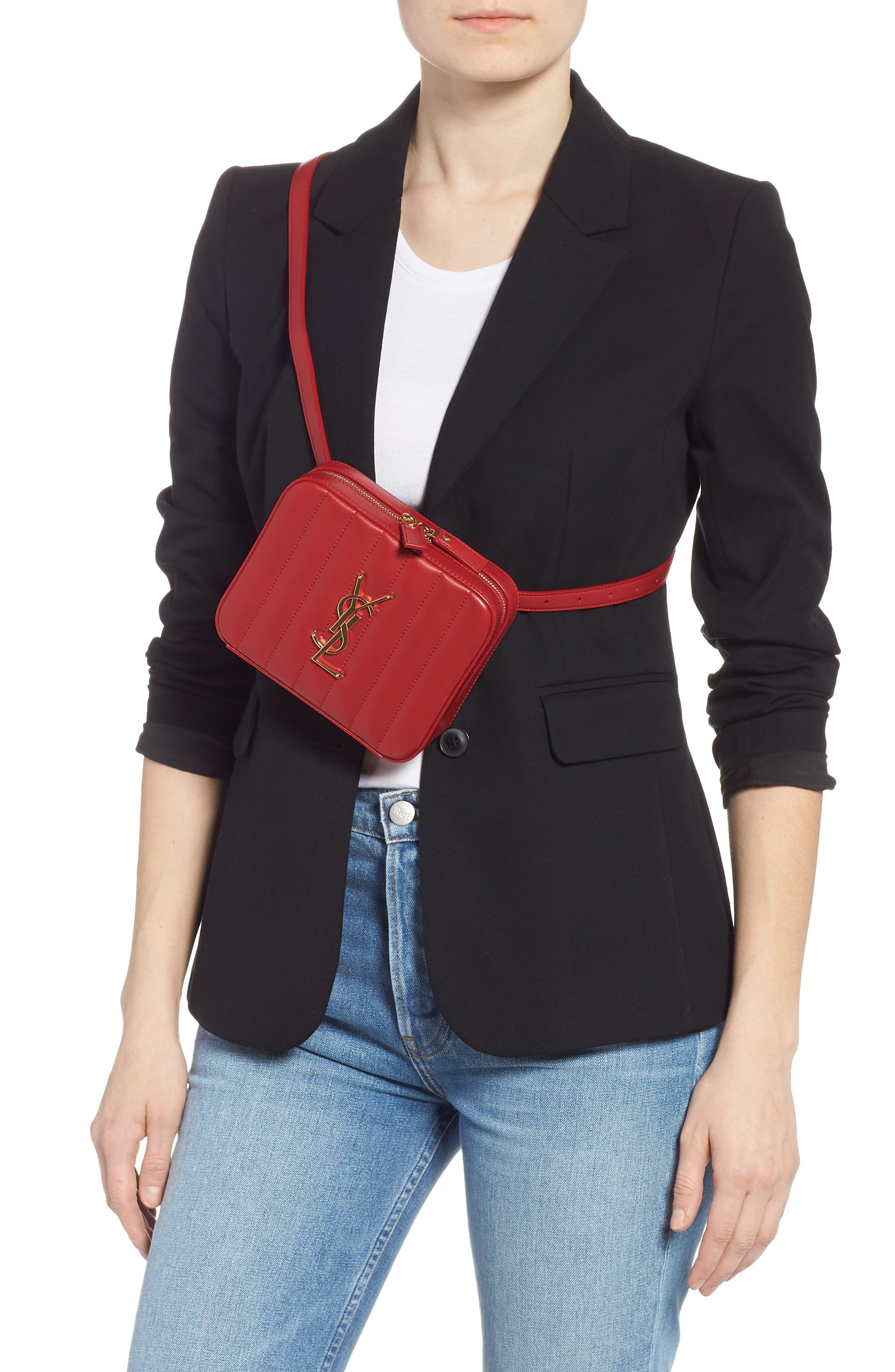 SAINT LAURENT, Vicky Lambskin Leather Belt Bag, Alternate thumbnail 3, color, ROUGE EROS
