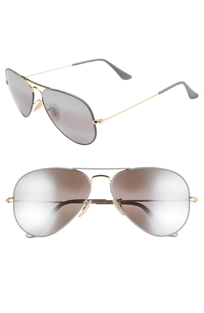 RAY-BAN Standard Original 58mm Aviator Sunglasses, Main, color, GREY/ GOLD MIRROR