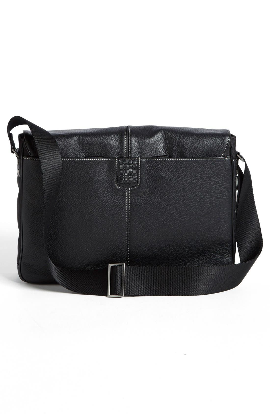 BOCONI, Tyler Slim Leather Laptop Briefcase, Alternate thumbnail 3, color, BLACK/ KHAKI
