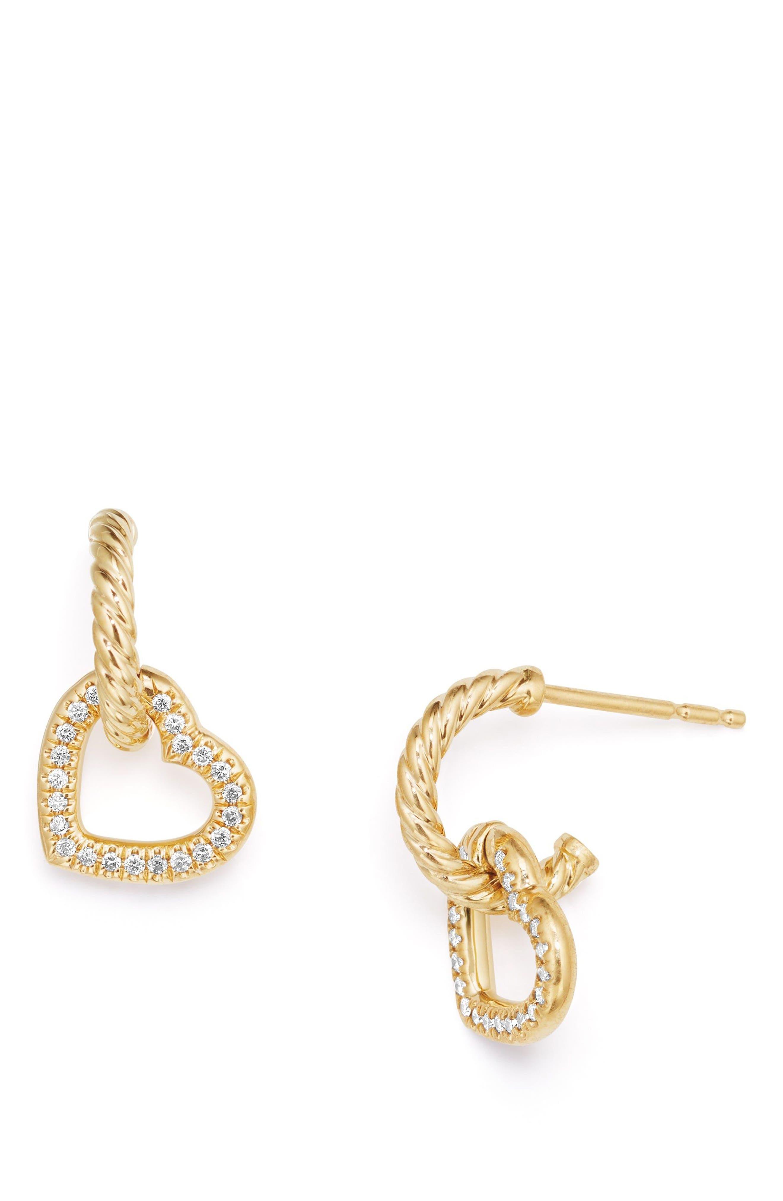 DAVID YURMAN, Heart Drop Earrings with Diamonds in 18K Gold, Main thumbnail 1, color, GOLD