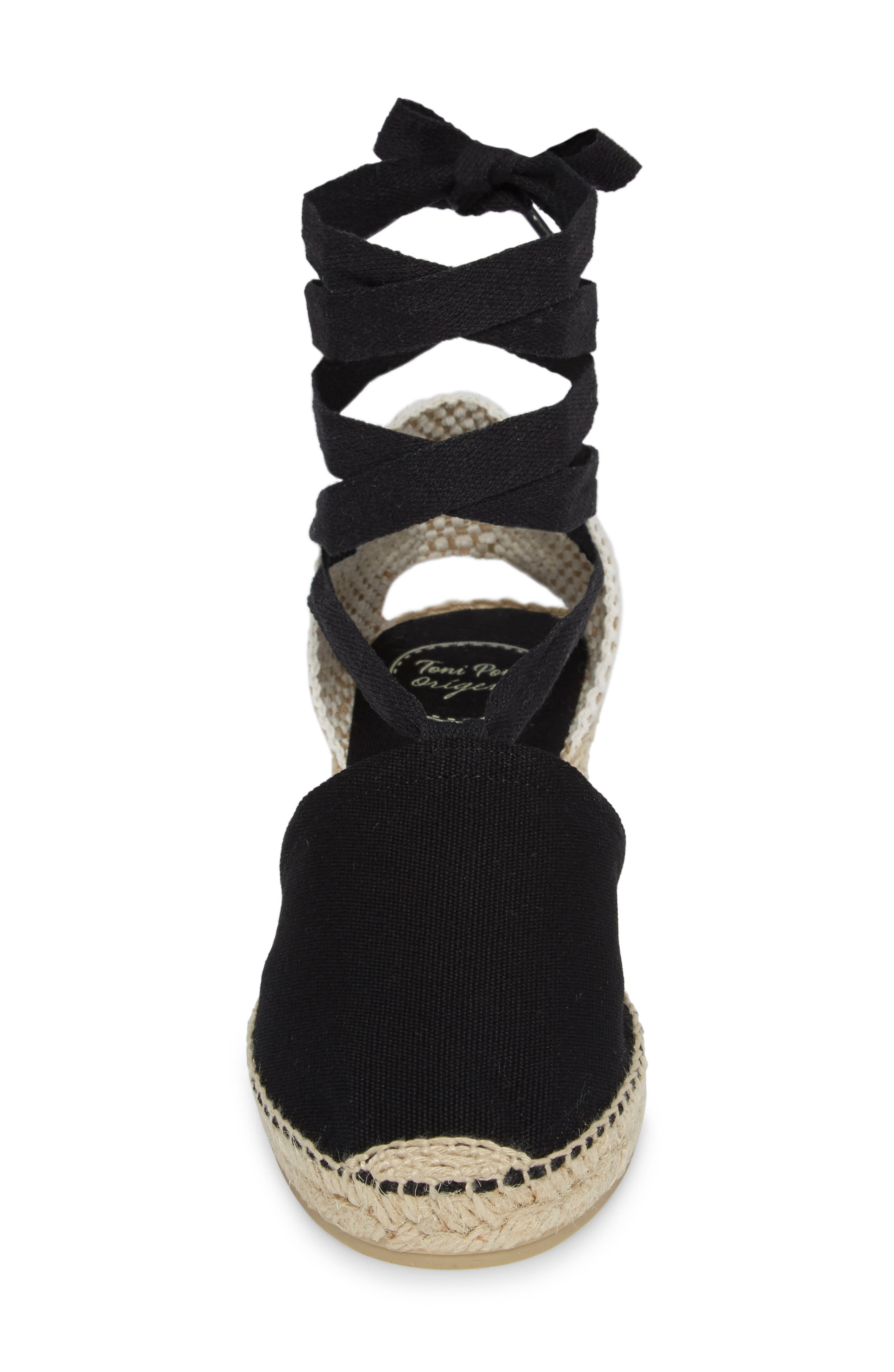 TONI PONS, Valencia Wraparound Espadrille Wedge, Alternate thumbnail 4, color, BLACK FABRIC