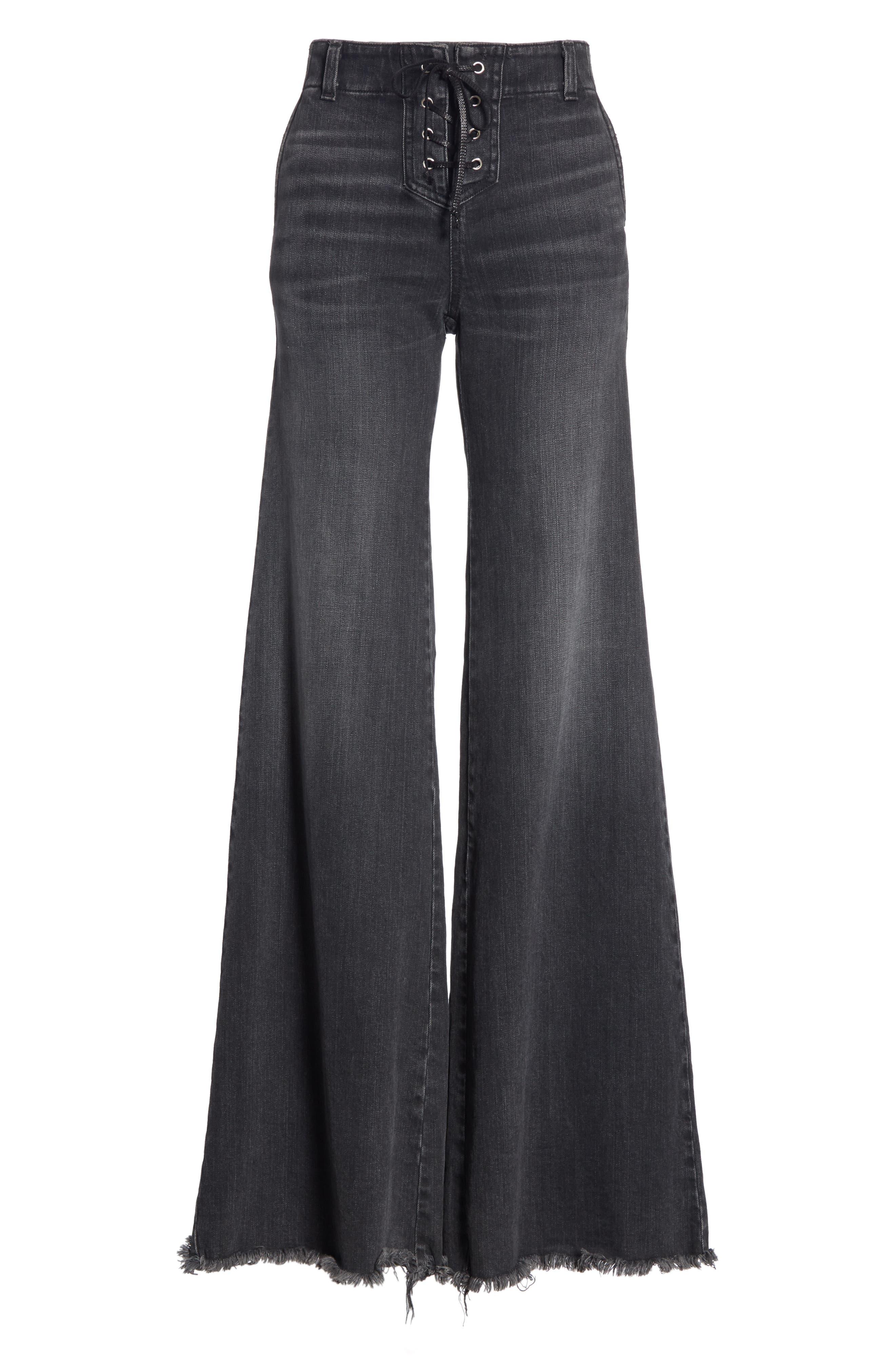 NILI LOTAN, Wade Lace-Up Wide Leg Jeans, Alternate thumbnail 7, color, VINTAGE BLACK