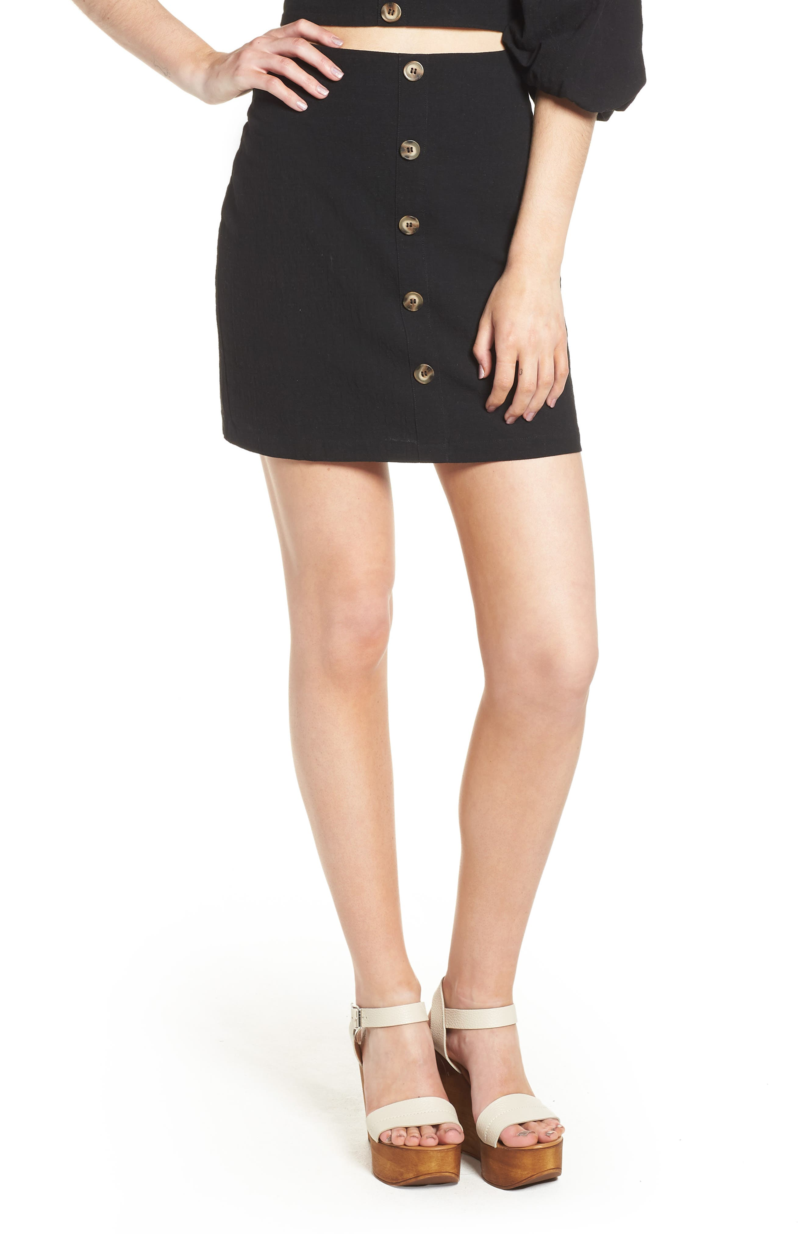 J.O.A., Button Front Miniskirt, Main thumbnail 1, color, 001