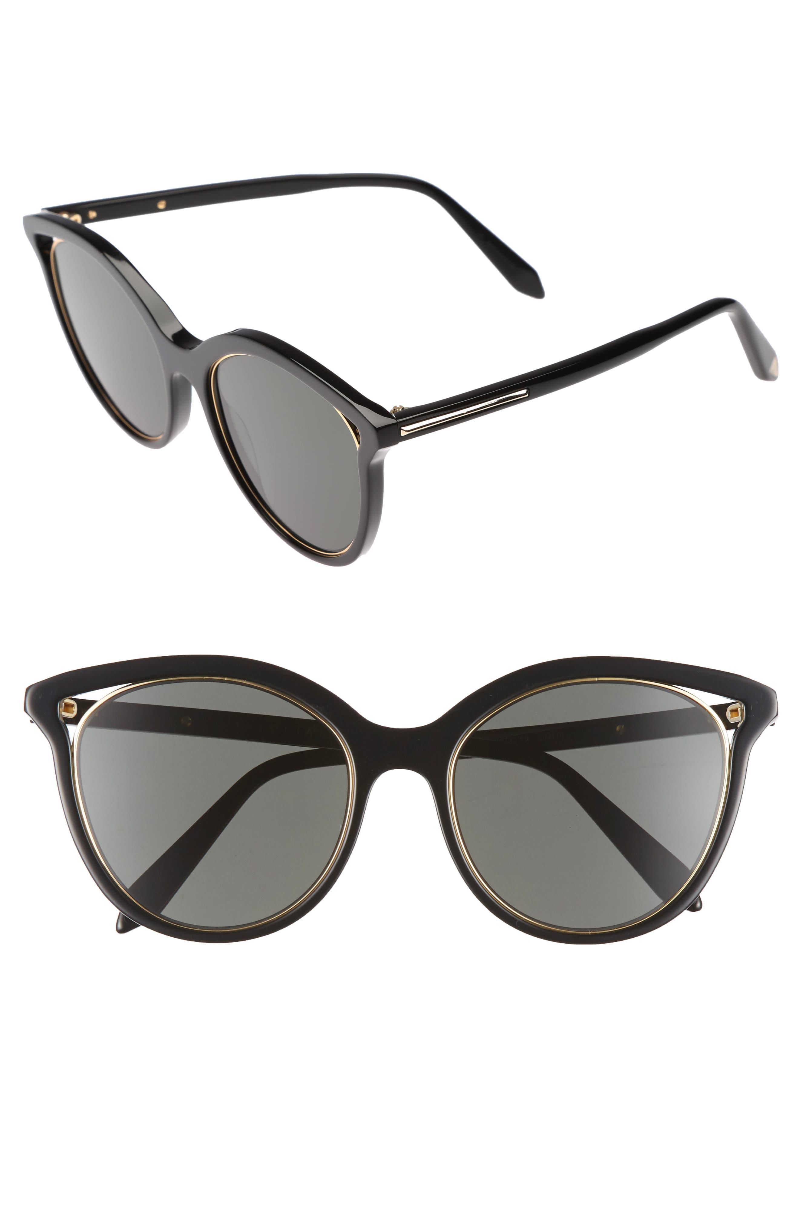 VICTORIA BECKHAM, Cutaway Kitten 54mm Cat Eye Sunglasses, Main thumbnail 1, color, BLACK/ GOLD