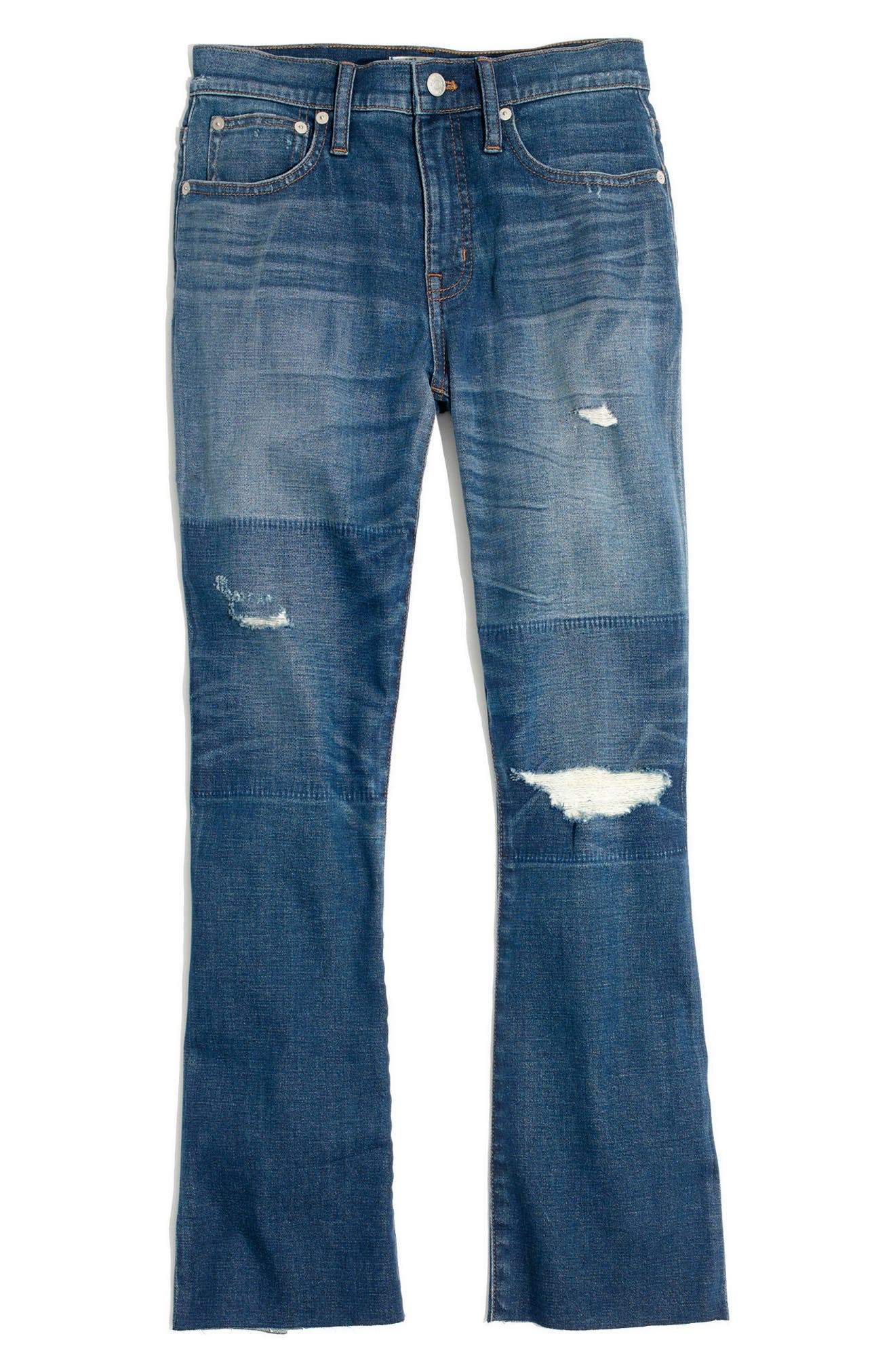MADEWELL, Cali Ripped Demi Bootleg Crop Jeans, Alternate thumbnail 4, color, 400