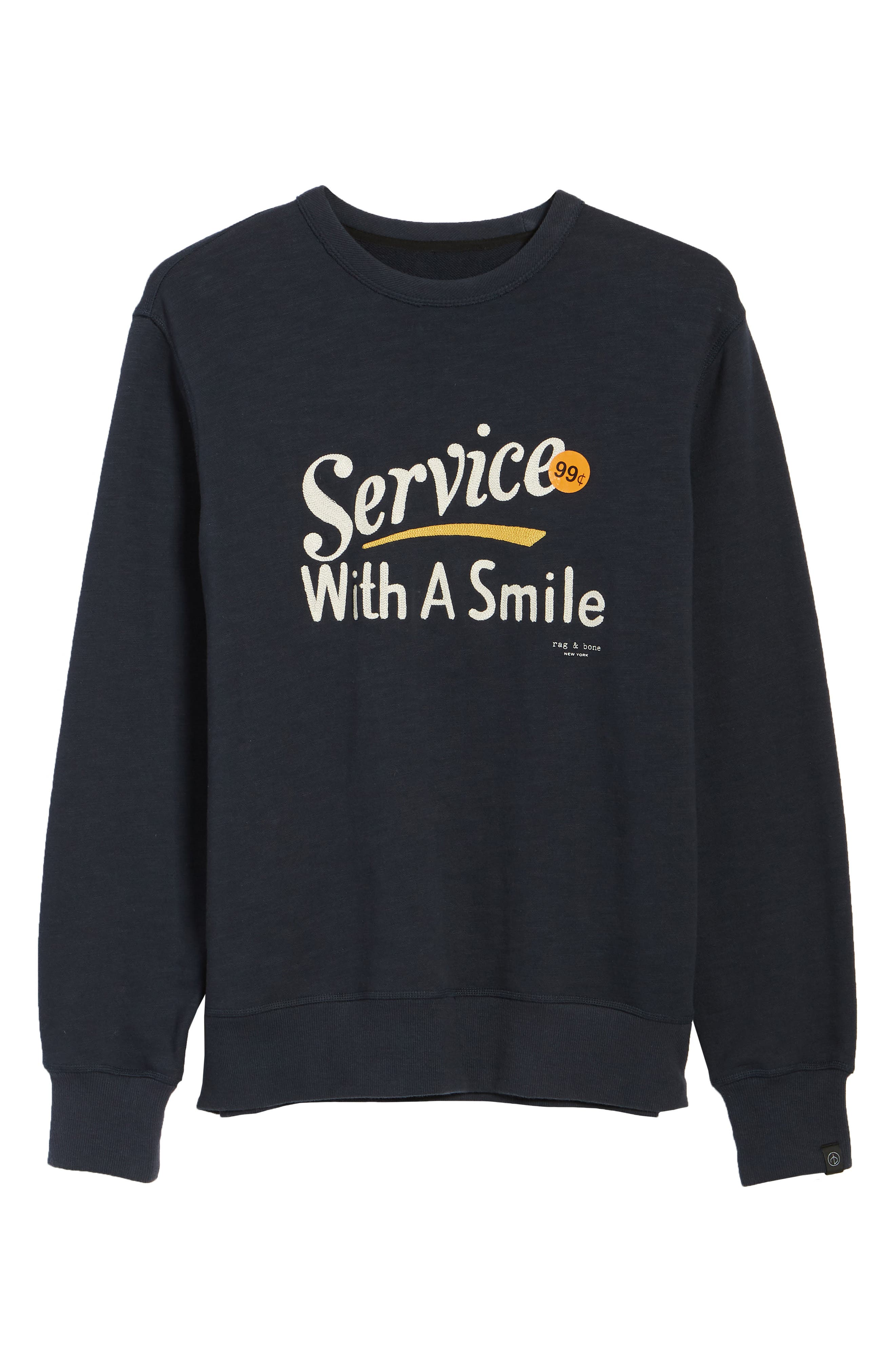 RAG & BONE, Graphic Embroidered Sweatshirt, Alternate thumbnail 6, color, NAVY