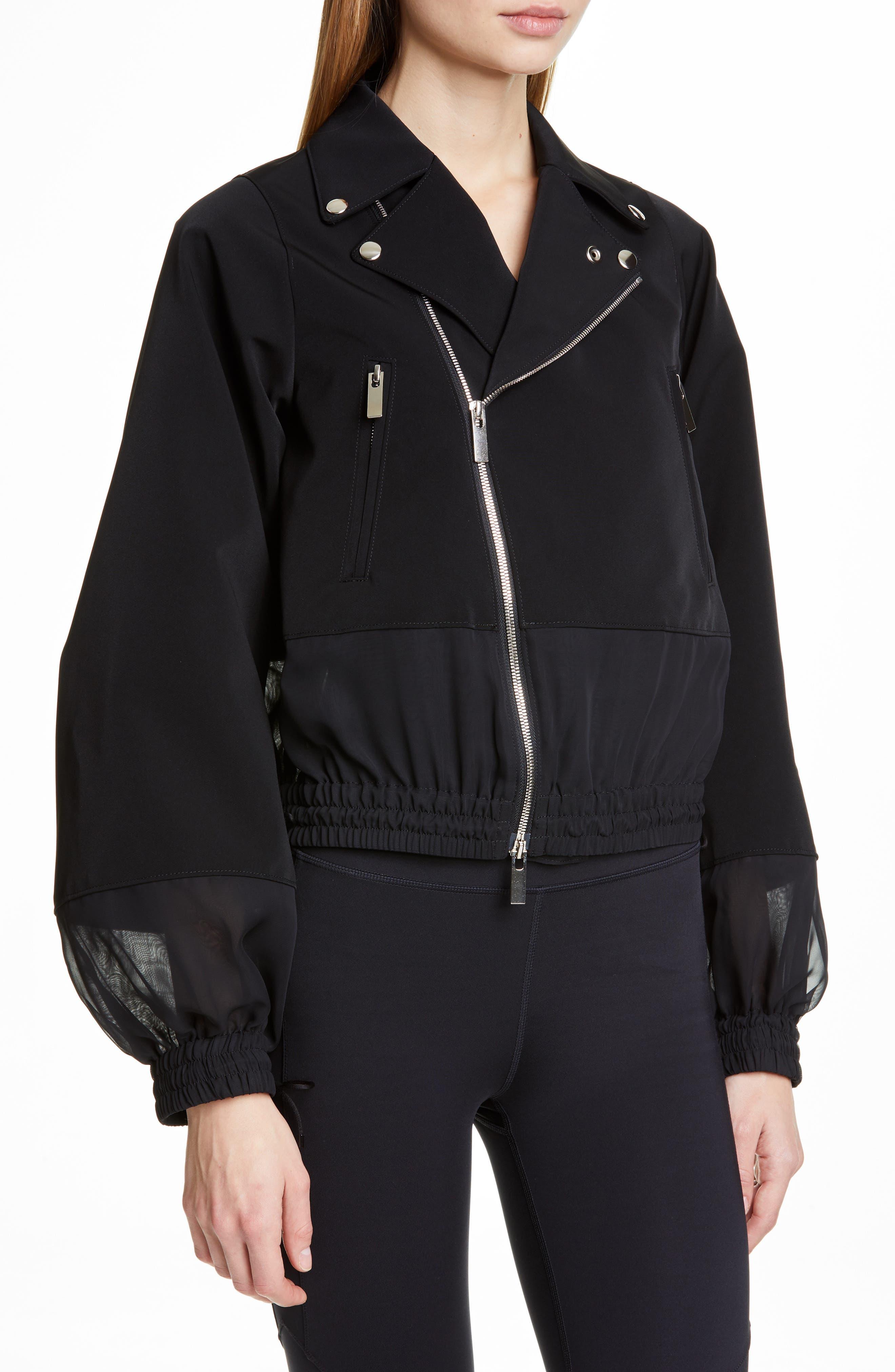NOIR KEI NINOMIYA, Sheer Panel Moto Jacket, Alternate thumbnail 4, color, BLACK