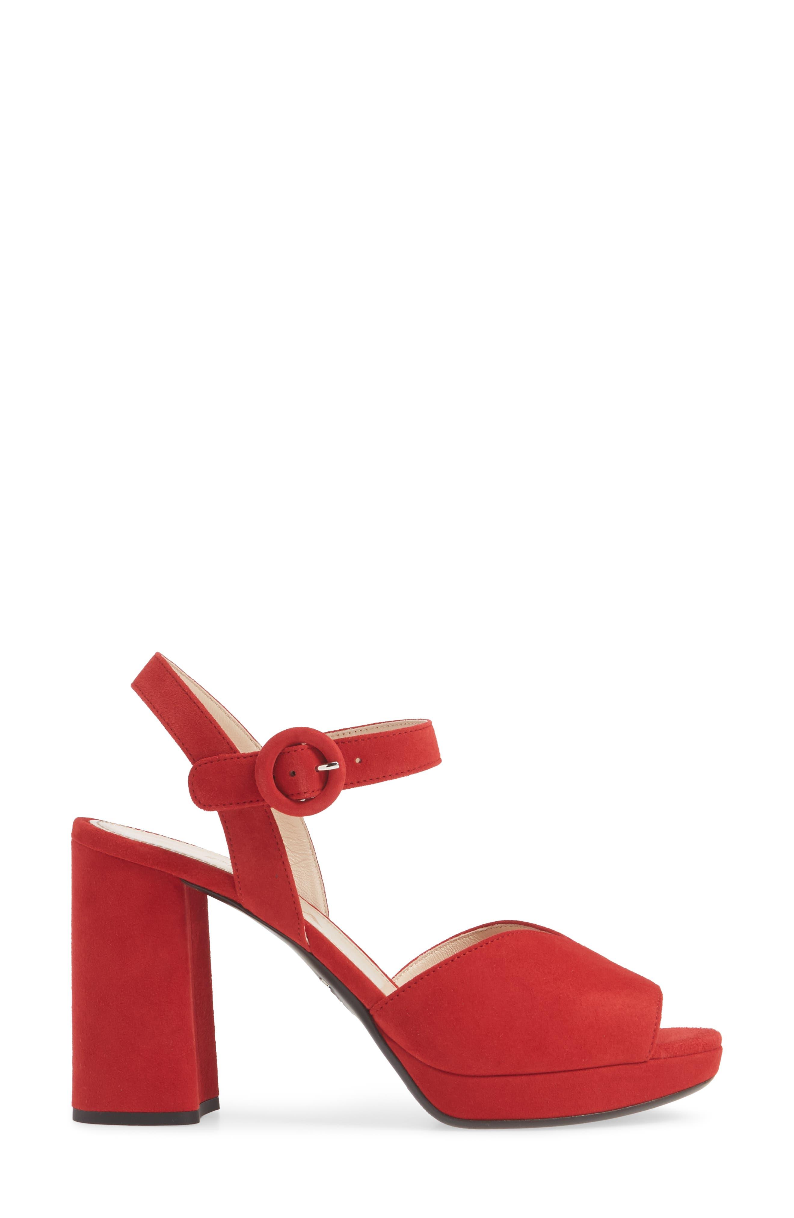 PRADA, Platform Sandal, Alternate thumbnail 3, color, RED SUEDE
