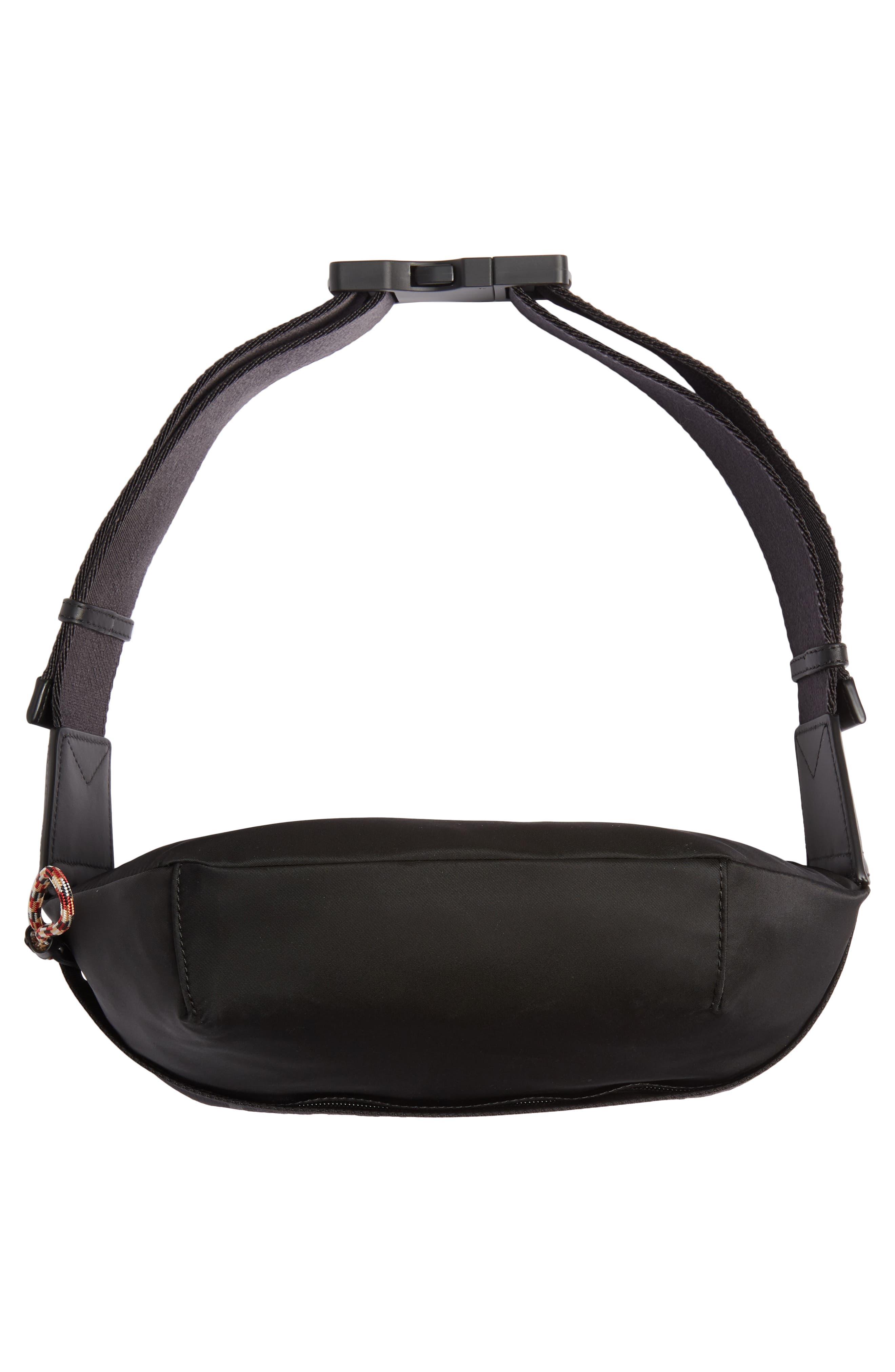 BURBERRY, Medium Sonny Logo Belt Bag, Alternate thumbnail 7, color, BLACK