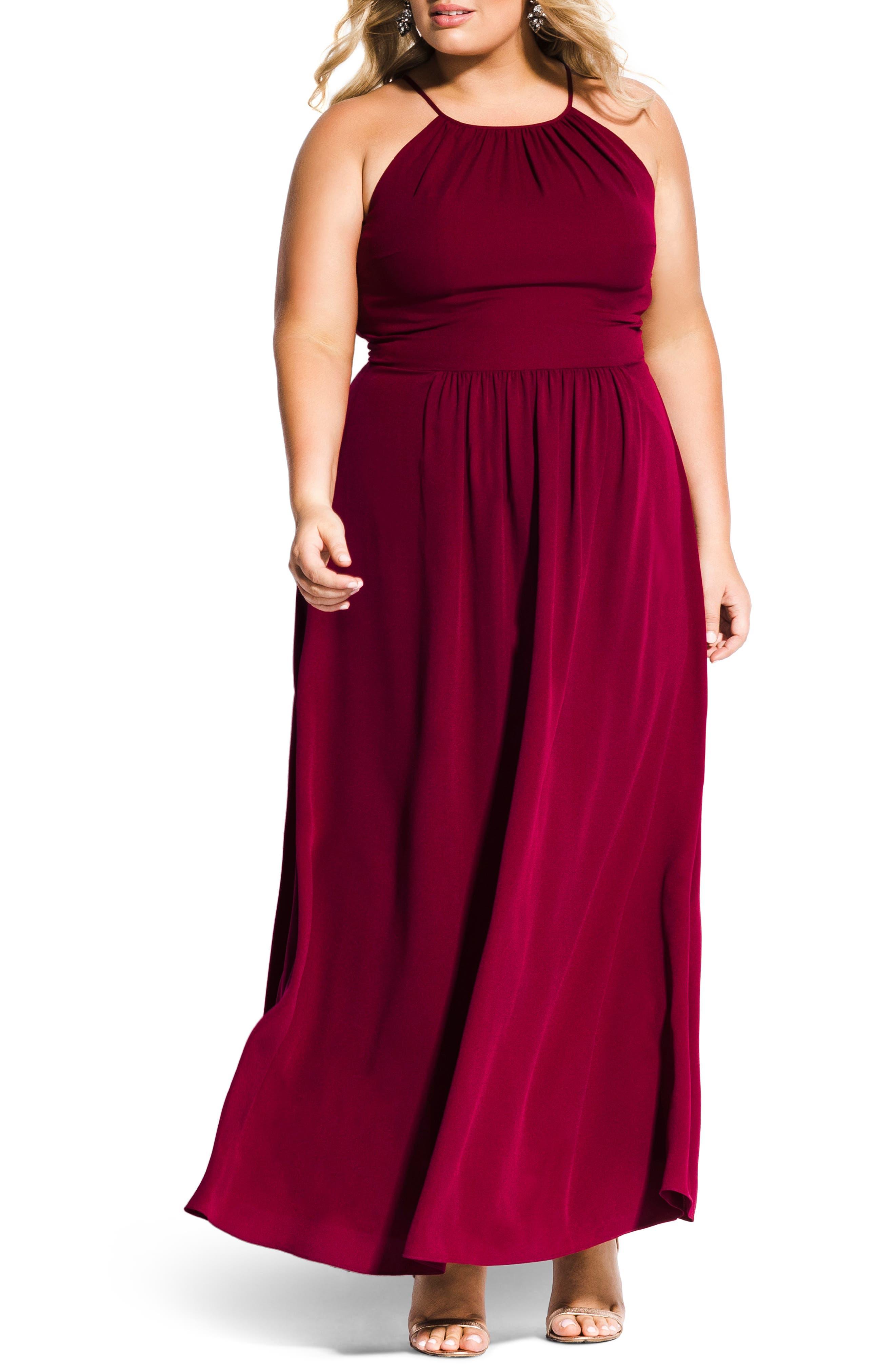 Plus Size City Chic Devotion Maxi Dress, Red