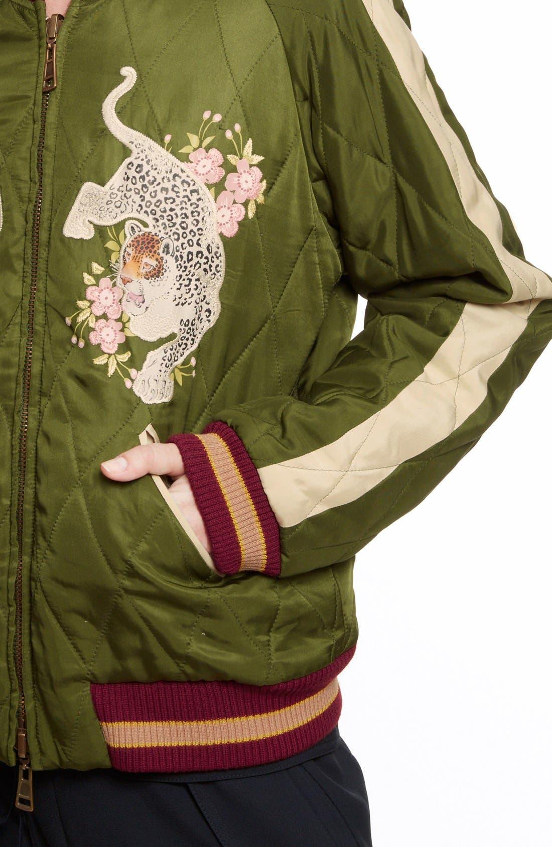 CHLOÉ, Reversible Embroidered Tech Satin Bomber Jacket, Alternate thumbnail 2, color, 301