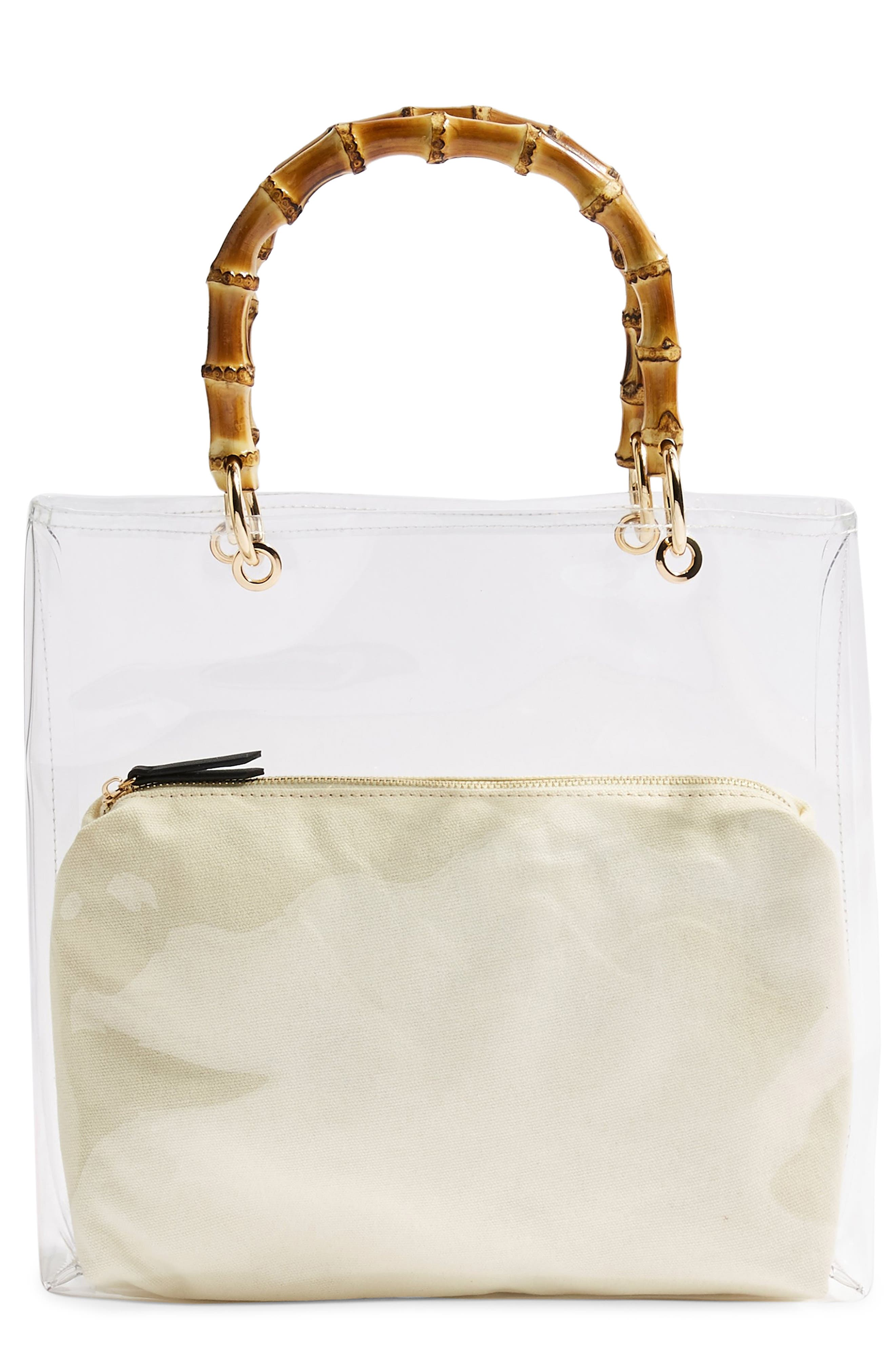 TOPSHOP, Mercy Top Handle Tote Bag, Main thumbnail 1, color, CLEAR