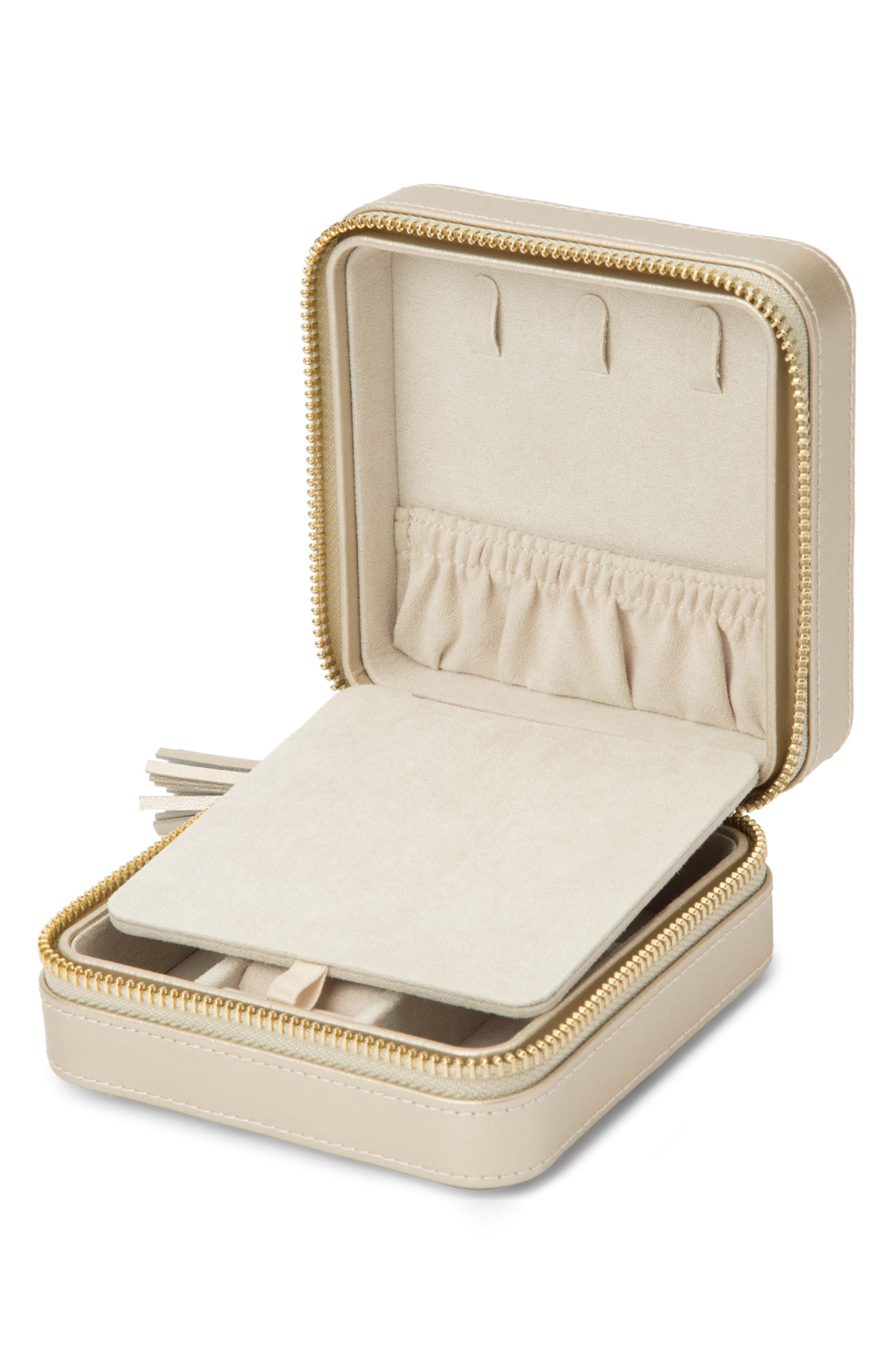 WOLF, 'Caroline' Travel Jewelry Case, Alternate thumbnail 5, color, CHAMPAGNE