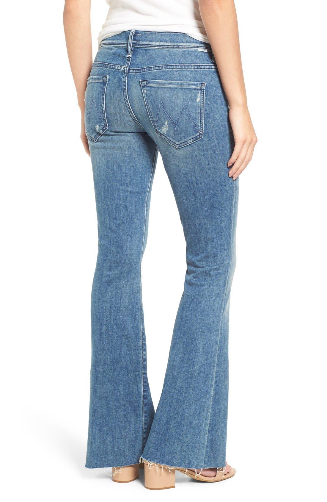 MOTHER, Raw Hem Flare Jeans, Alternate thumbnail 2, color, 420