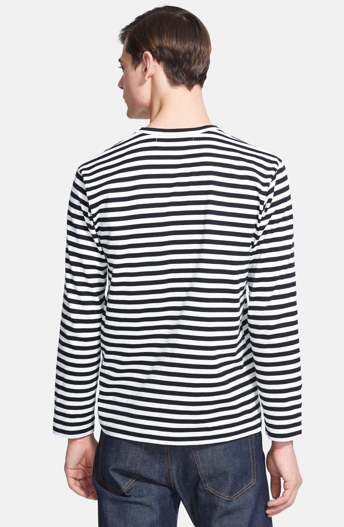 COMME DES GARÇONS PLAY, Stripe Long Sleeve T-Shirt, Alternate thumbnail 2, color, BLACK/ WHITE